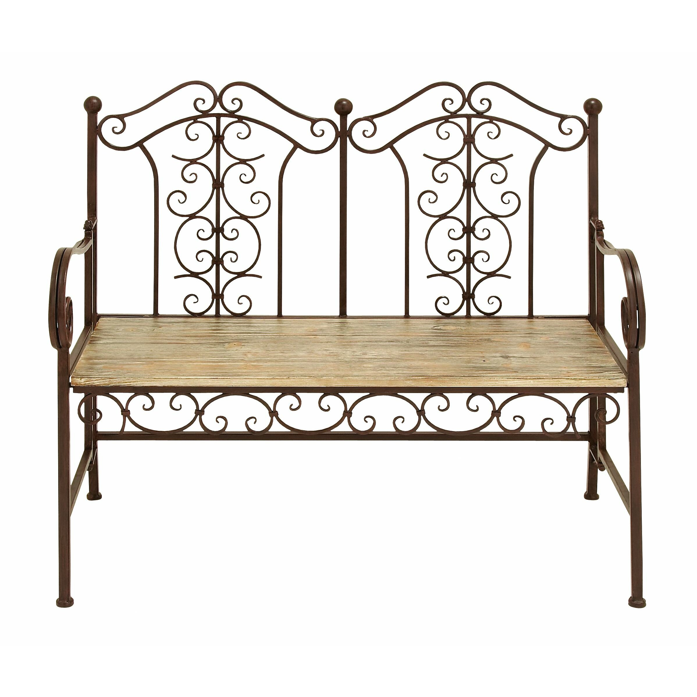 woodland imports wood and metal garden bench reviews wayfair. Black Bedroom Furniture Sets. Home Design Ideas
