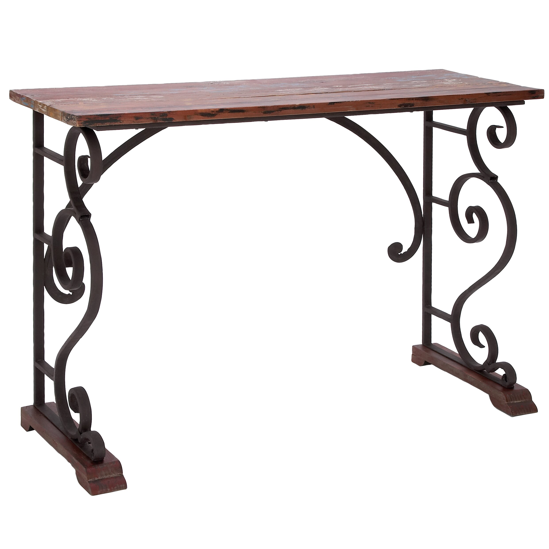 Woodland imports vintage cabinet metal wood console table for Metal and wood console tables