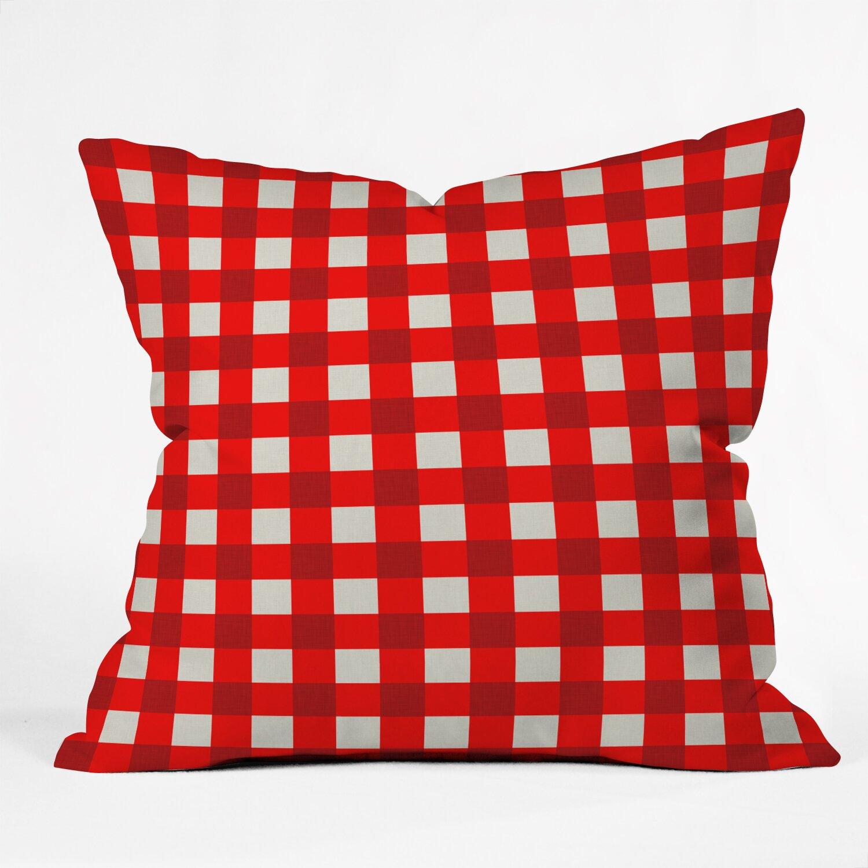 DENY Designs Holli Zollinger Red Gingham Indoor/Outdoor Throw Pillow & Reviews Wayfair