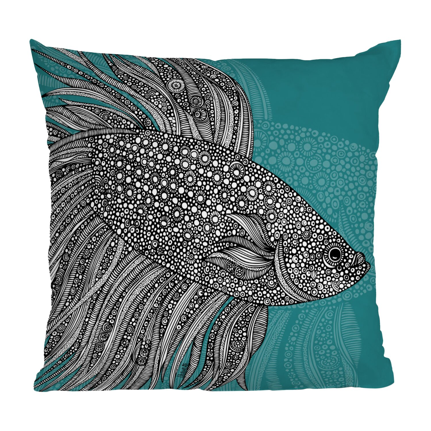 DENY Designs Valentina Ramos Beta Fish Throw Pillow & Reviews Wayfair