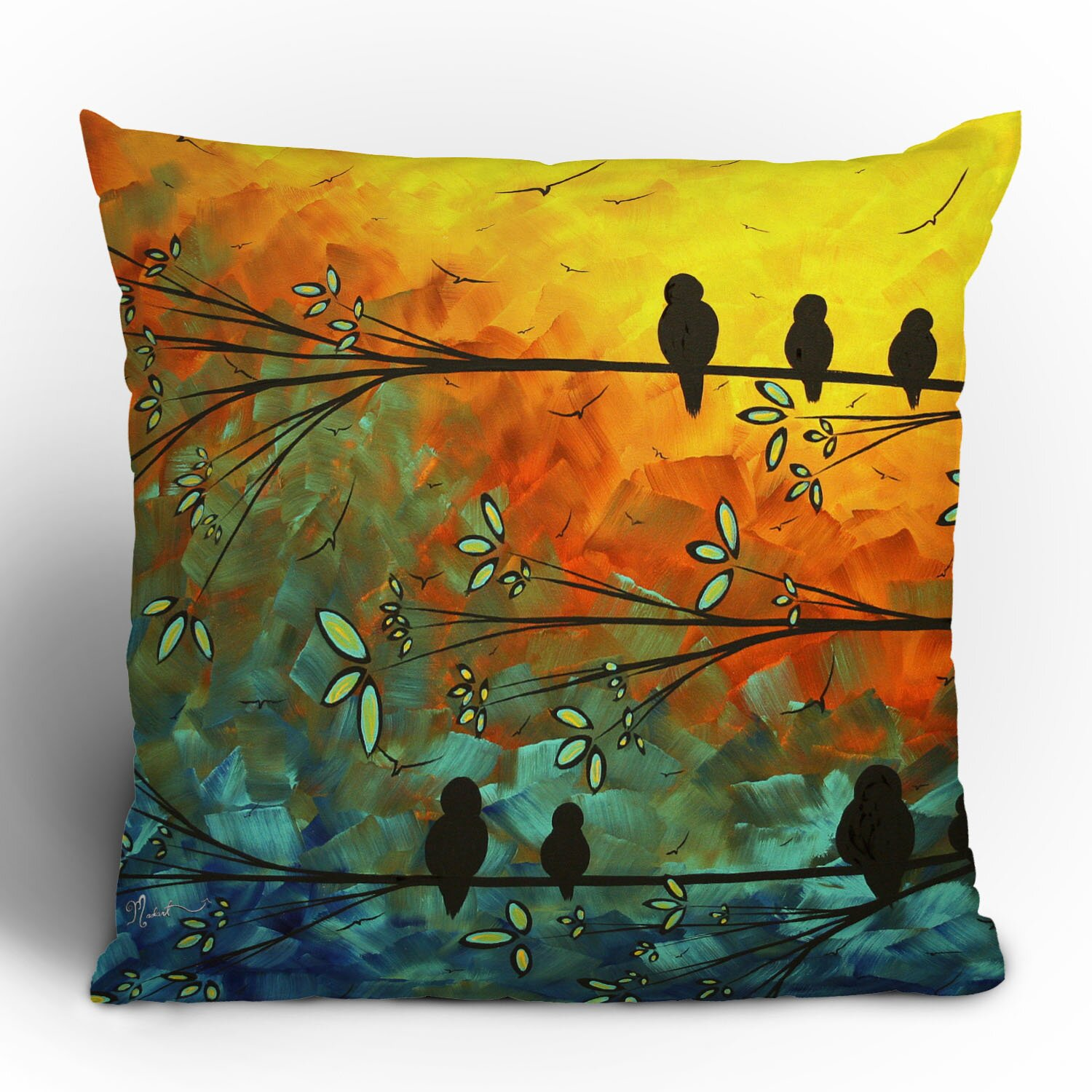 Decorative Pillows Feather : DENY Designs Madart Inc. Birds Of A Feather Throw Pillow & Reviews Wayfair