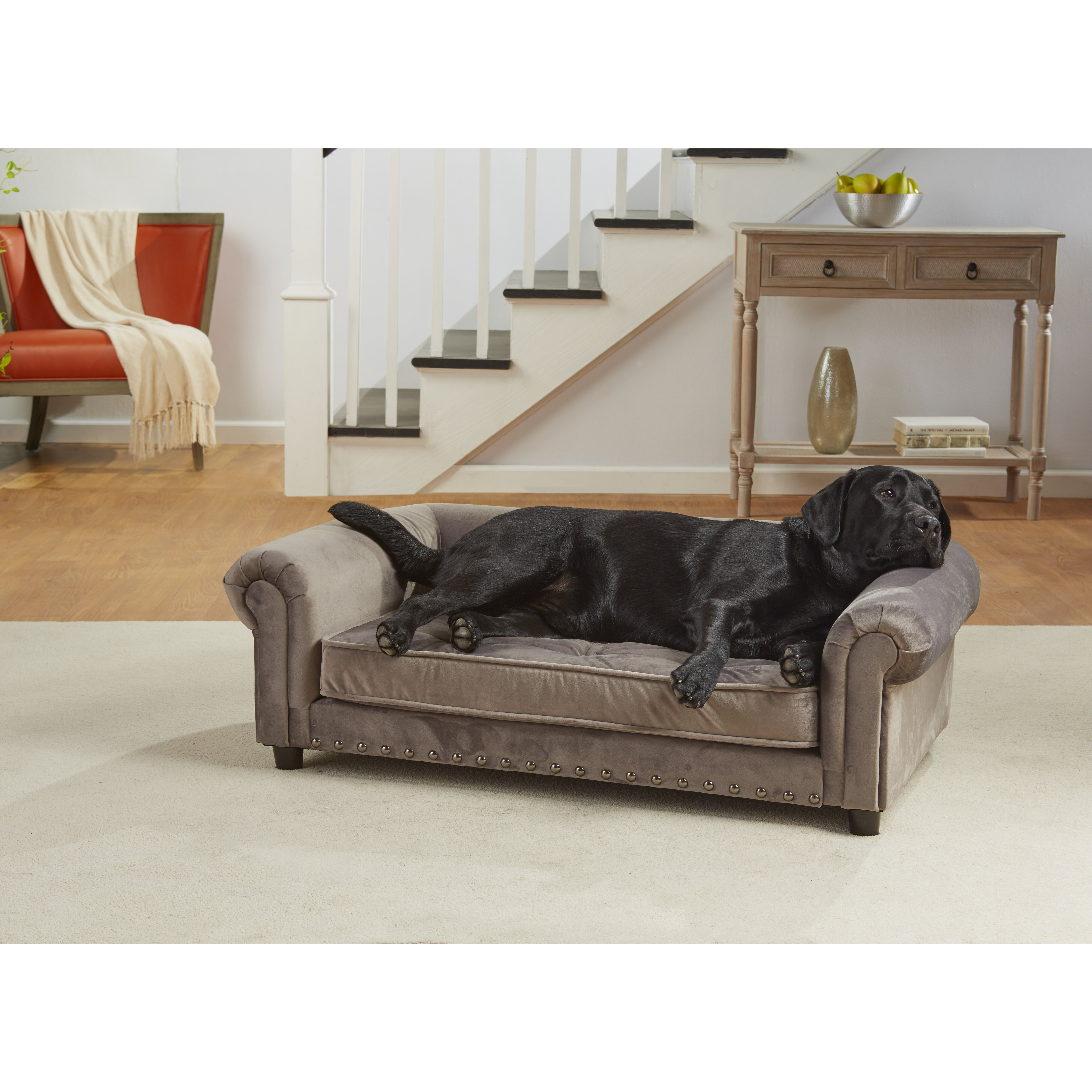 Enchanted Home Pet Manchester Velvet Tufted Dog Sofa With