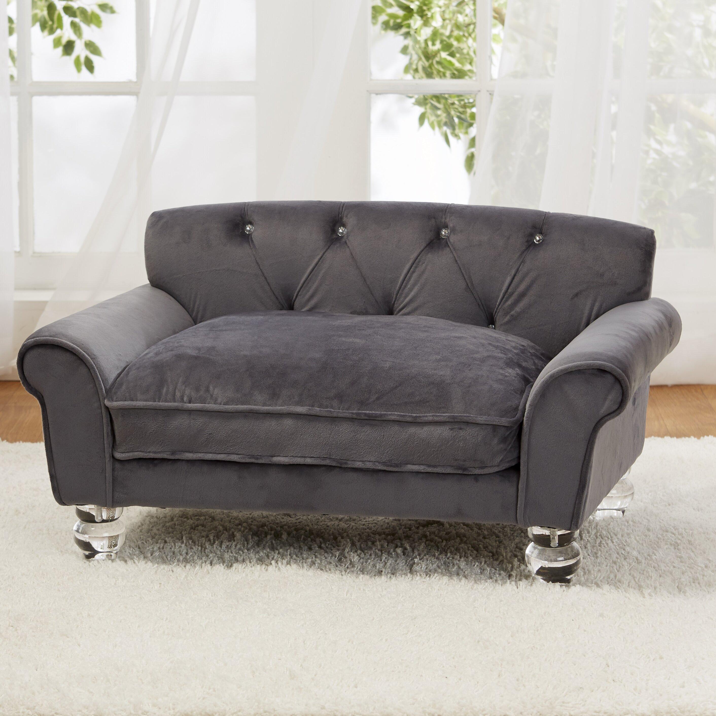 enchanted home pet la joie velvet dog sofa with cushion. Black Bedroom Furniture Sets. Home Design Ideas