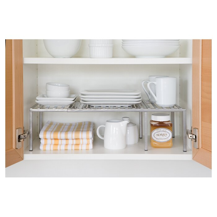 Seville Classics Expandable Kitchen Cabinet Shelf Organizer Rack