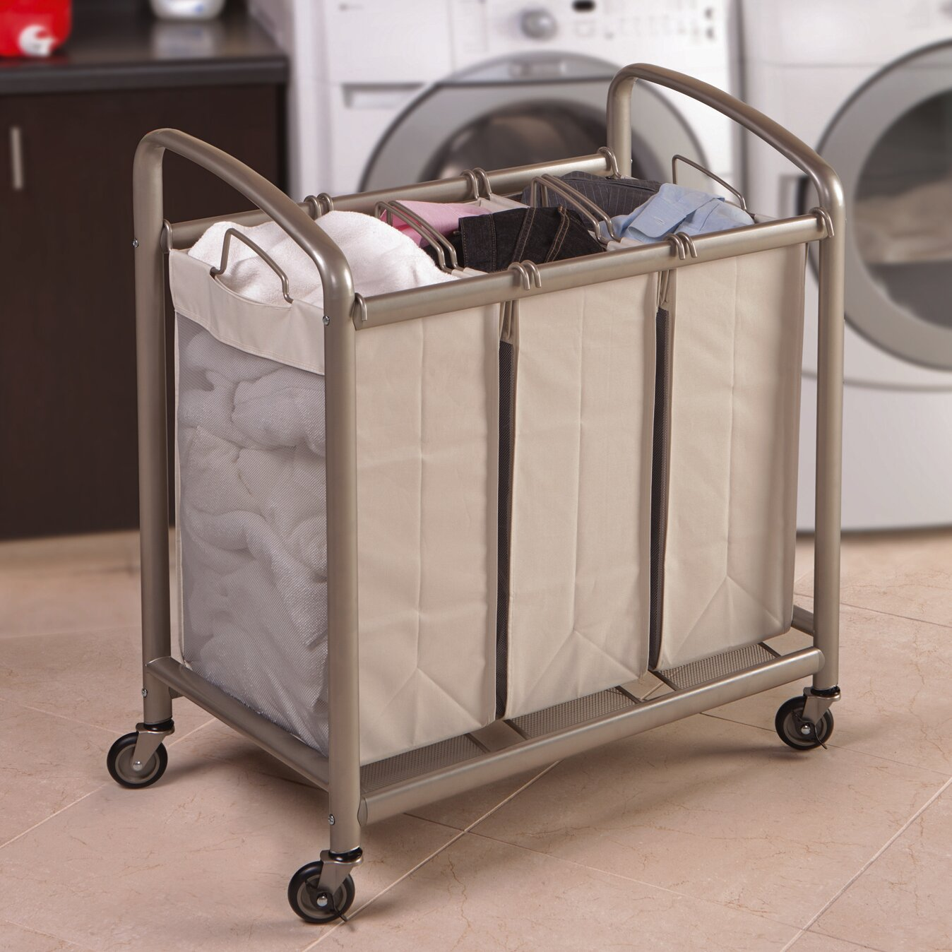 Seville Classics 3 Bag Slanted Handle Laundry Sorter ...