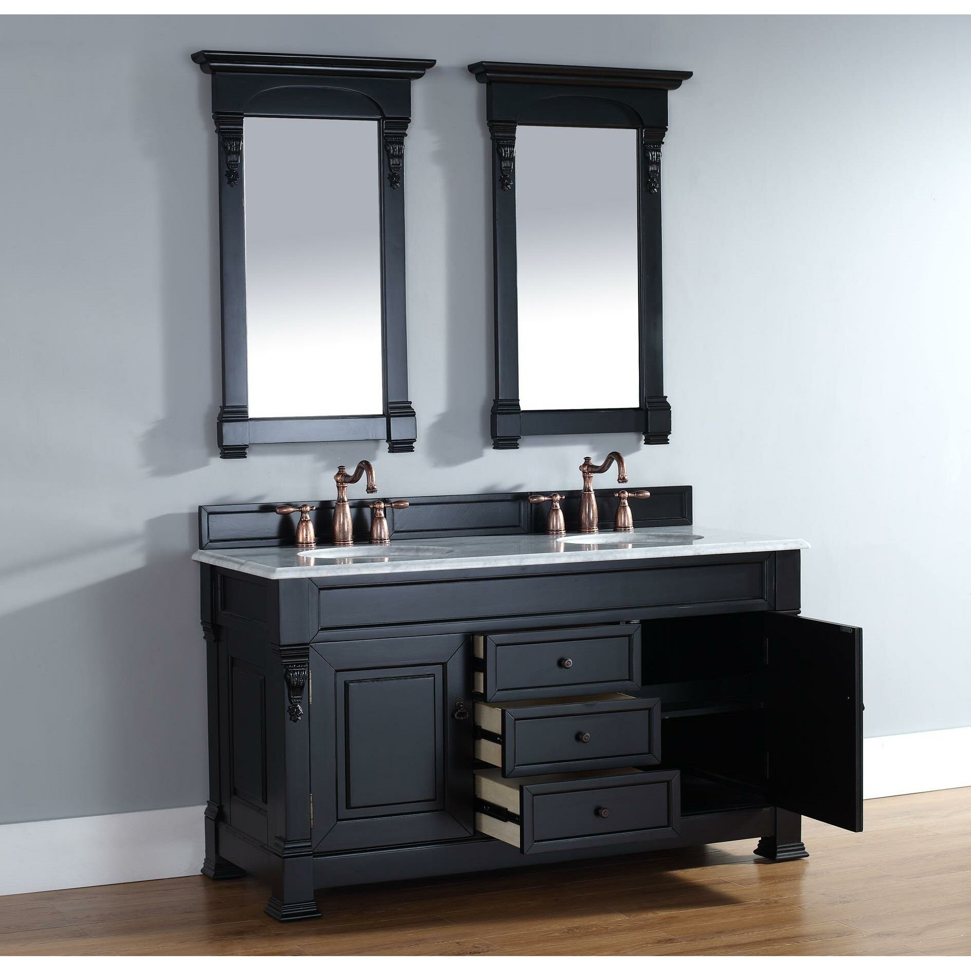 brookfield 60 double antique black bathroom vanity set with drawers