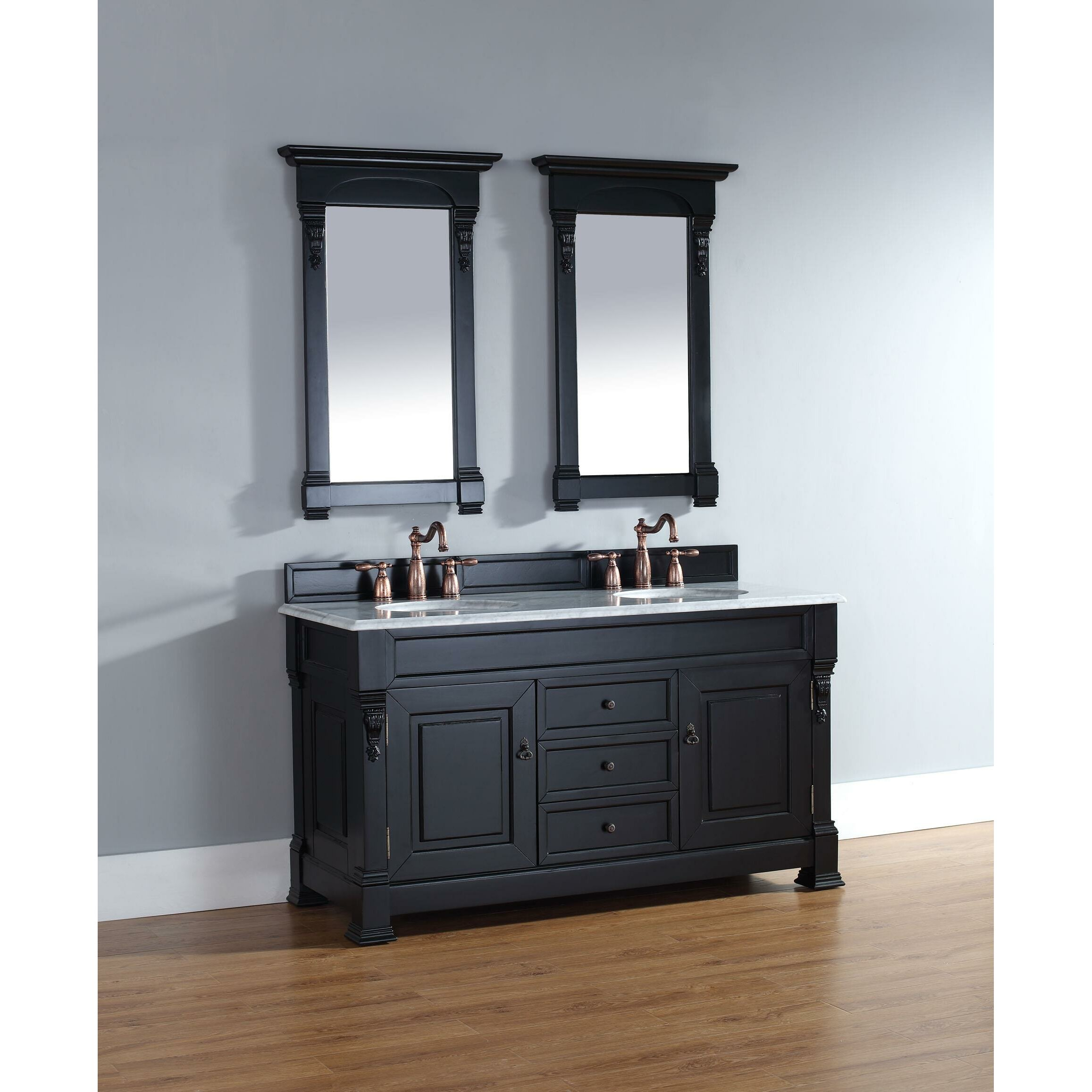 "Vintage Bathroom Vanity Set: James Martin Furniture Brookfield 60"" Double Antique Black"