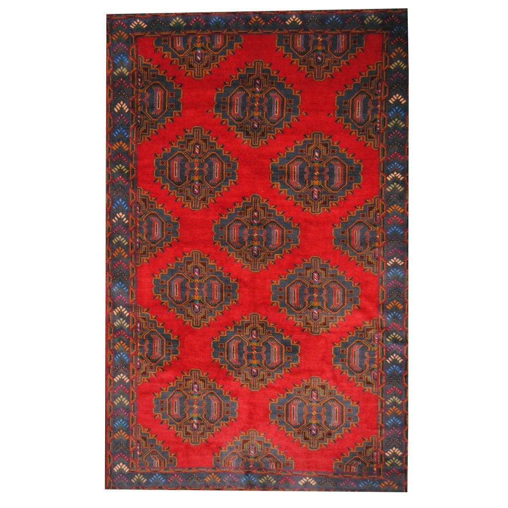 Herat oriental balouchi red blue area rug wayfair for Red and blue area rug