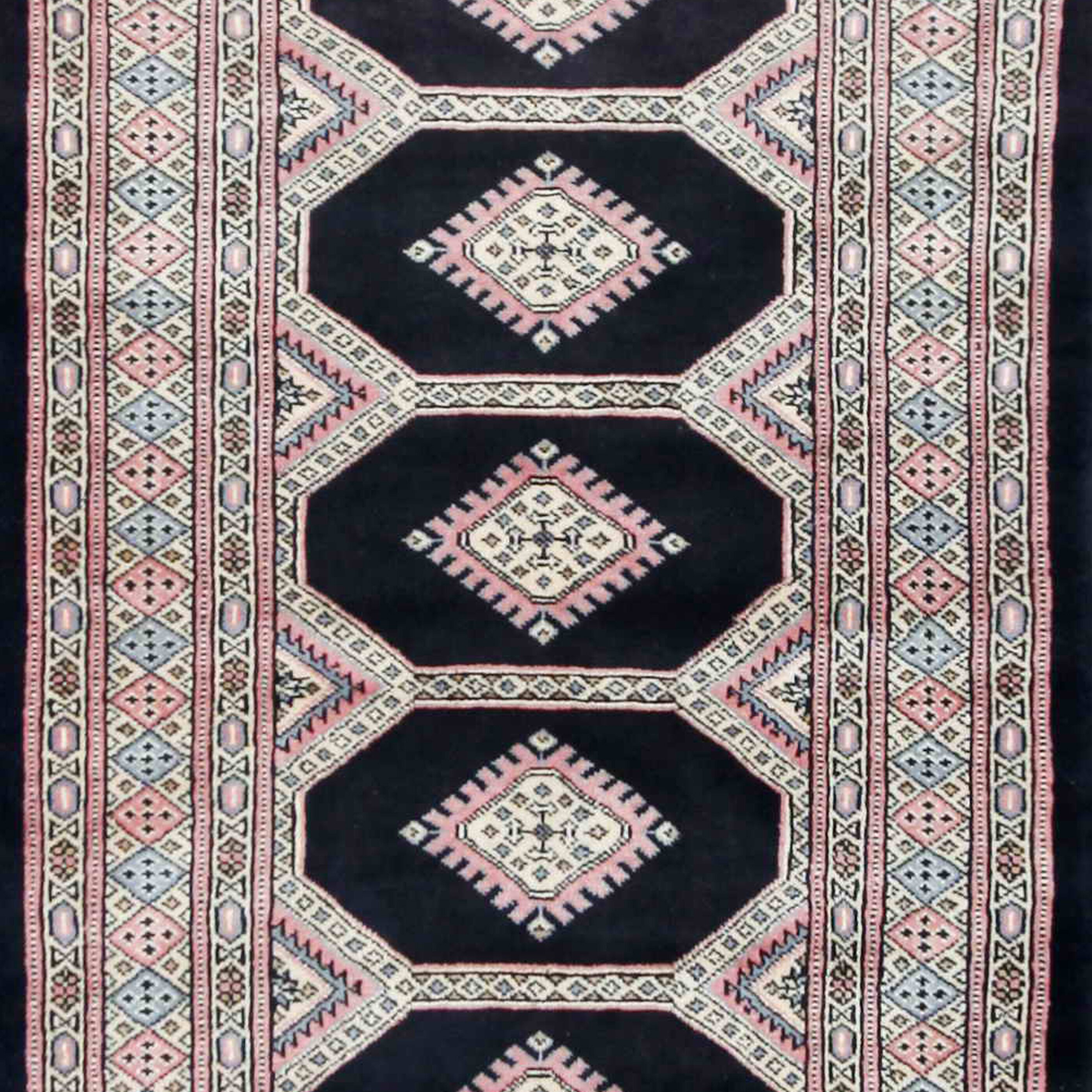 Herat Oriental Hand Tufted Wool Red Black Area Rug: Herat Oriental Tribal Bokhara Hand-Knotted Black/Pink Area