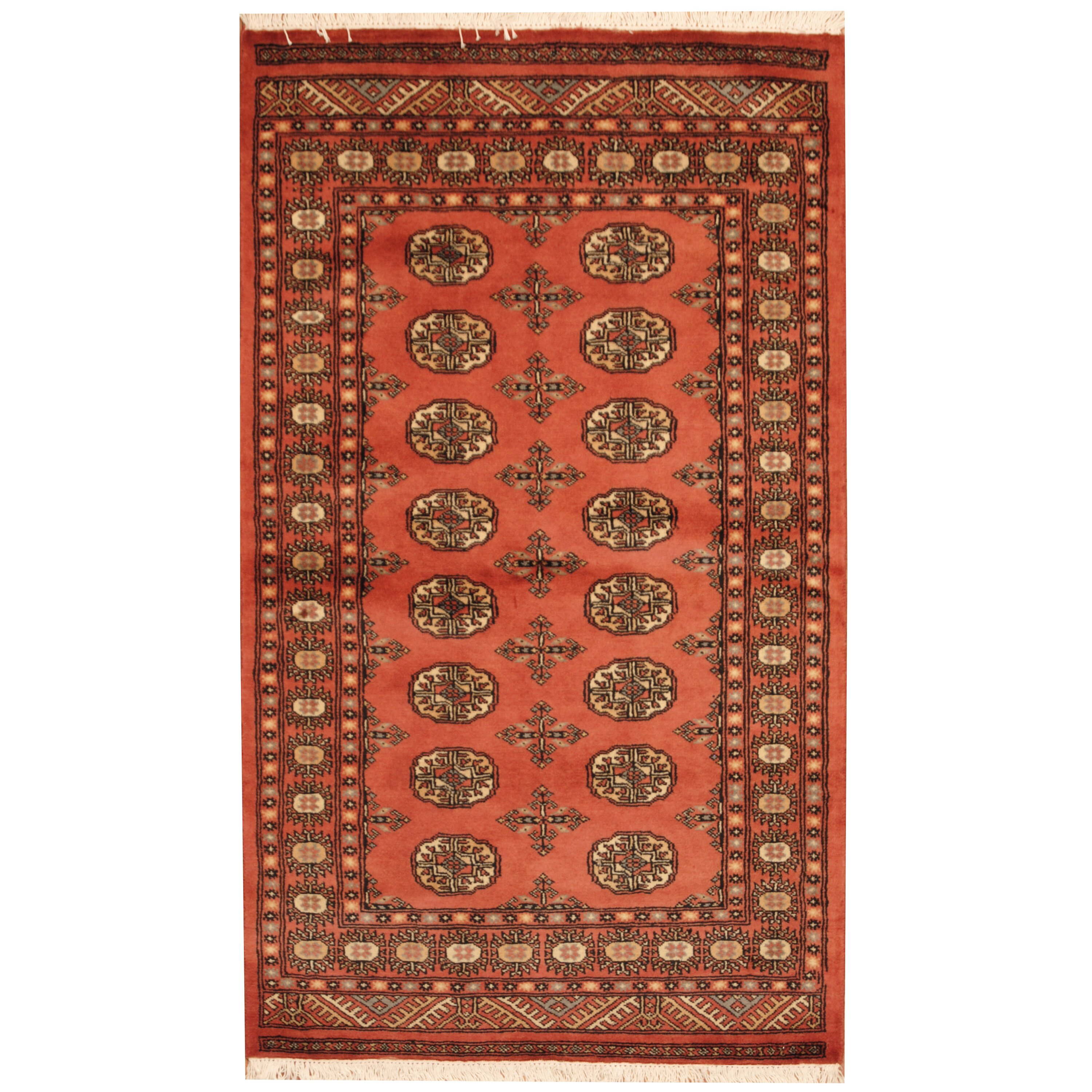 Herat Oriental Bokhara Hand-Knotted Peach/Ivory Area Rug