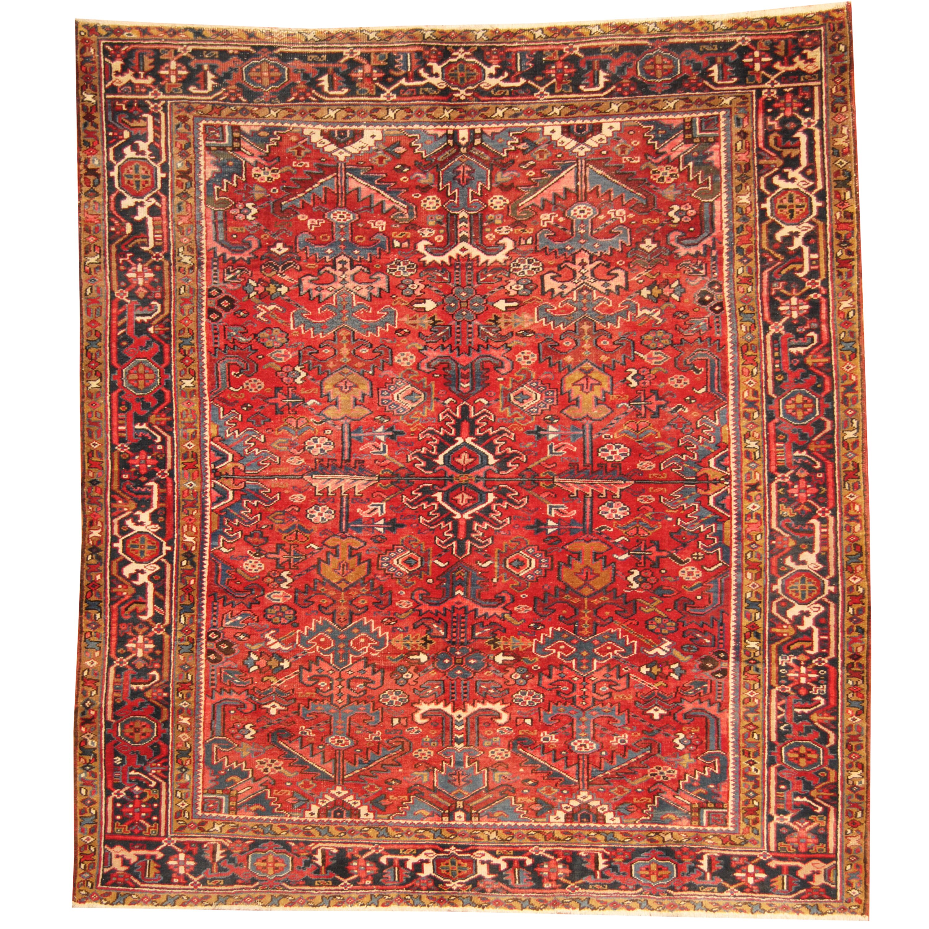 Herat oriental persian heriz hand knotted red navy area for Red and navy rug