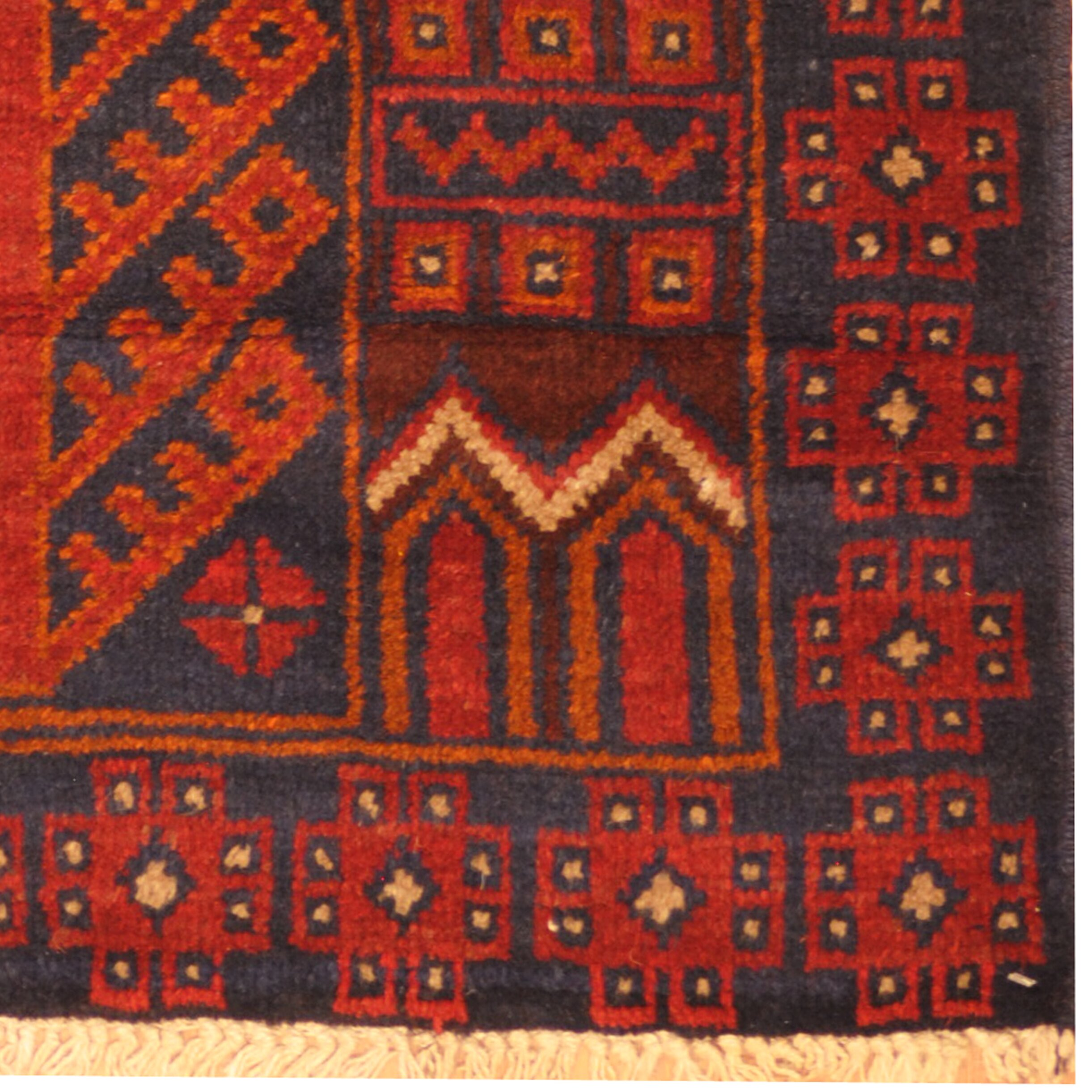 Herat Oriental Hand Tufted Wool Red Black Area Rug: Herat Oriental Balouchi Hand Knotted Wool Red/Navy Area