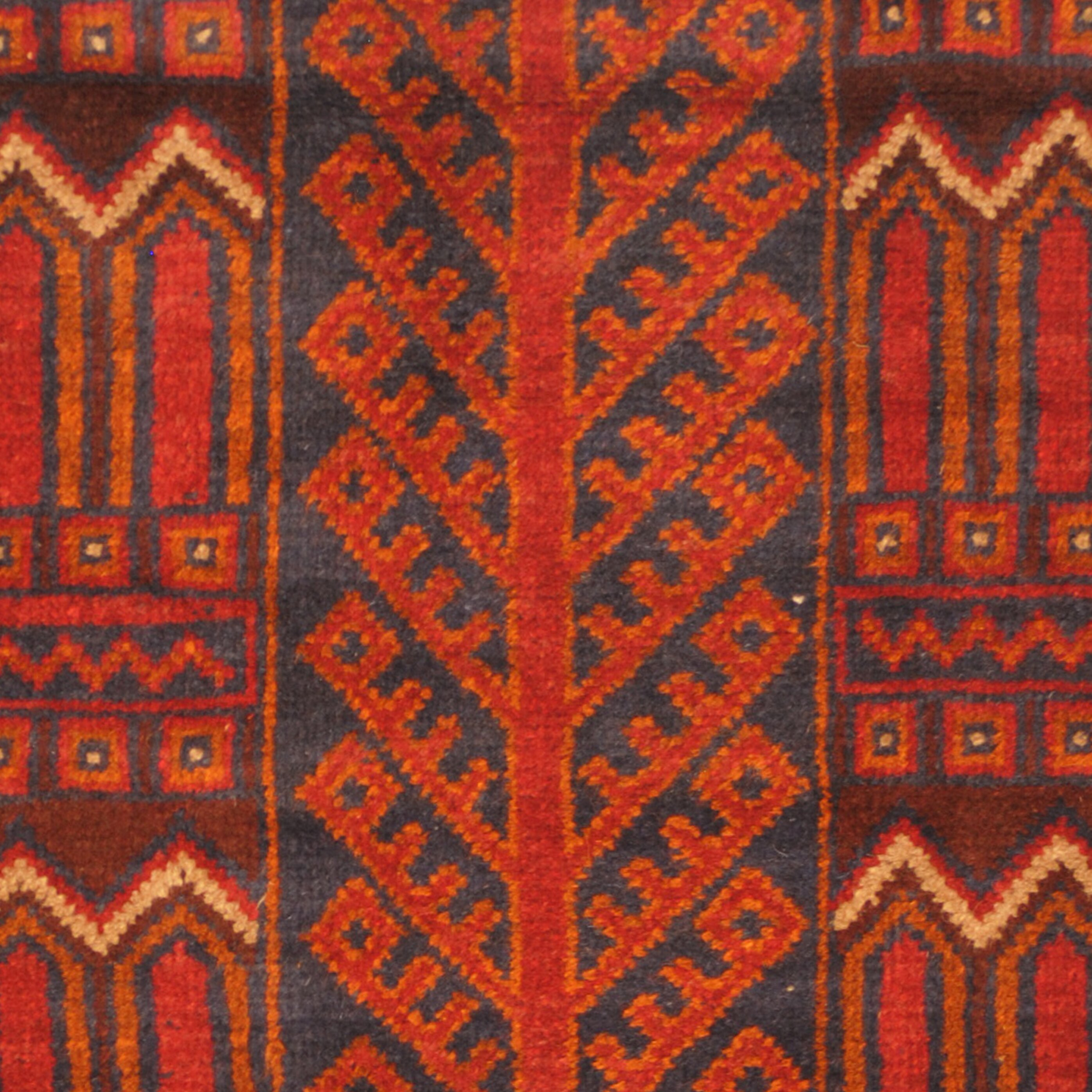 Hand Knotted Persian Kashan Wool Area Rug Ebth: Herat Oriental Balouchi Hand Knotted Wool Red/Navy Area