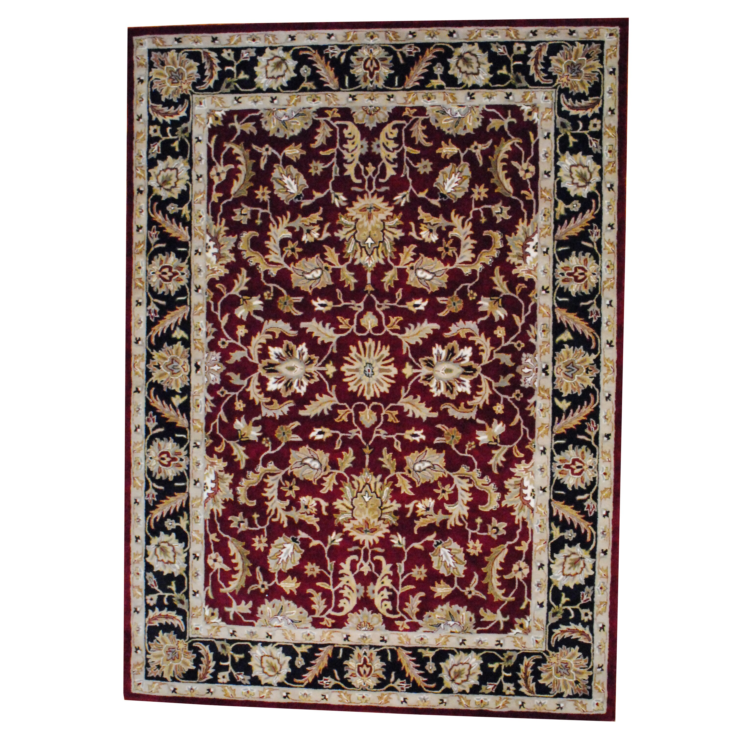 Dog Eating Wool Rug: Herat Oriental Hand Tufted Wool Red/Black Area Rug