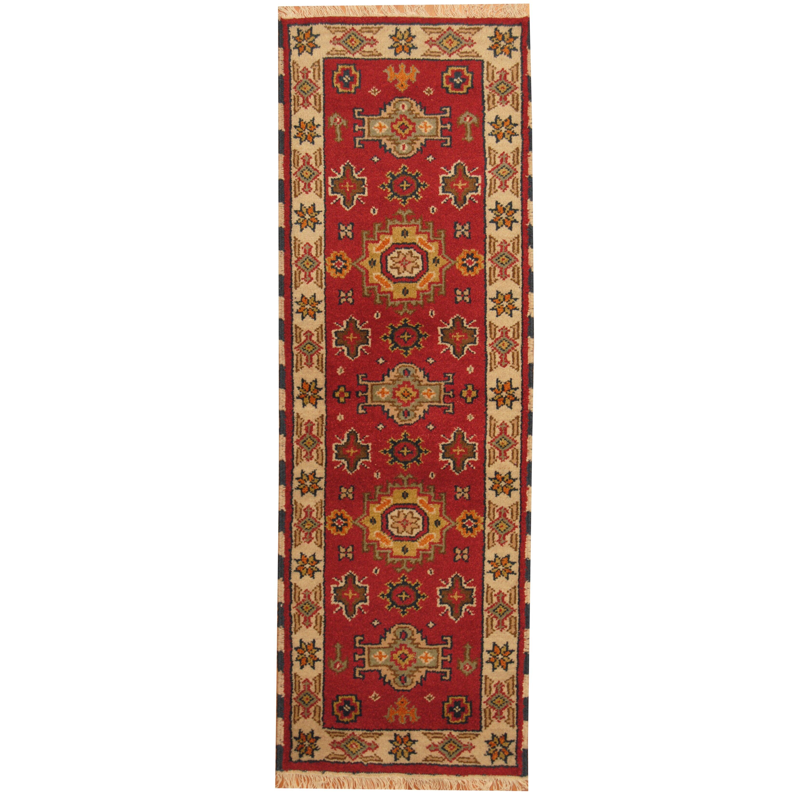 Herat Oriental Kazak Hand Knotted Red Ivory Area Rug Wayfair