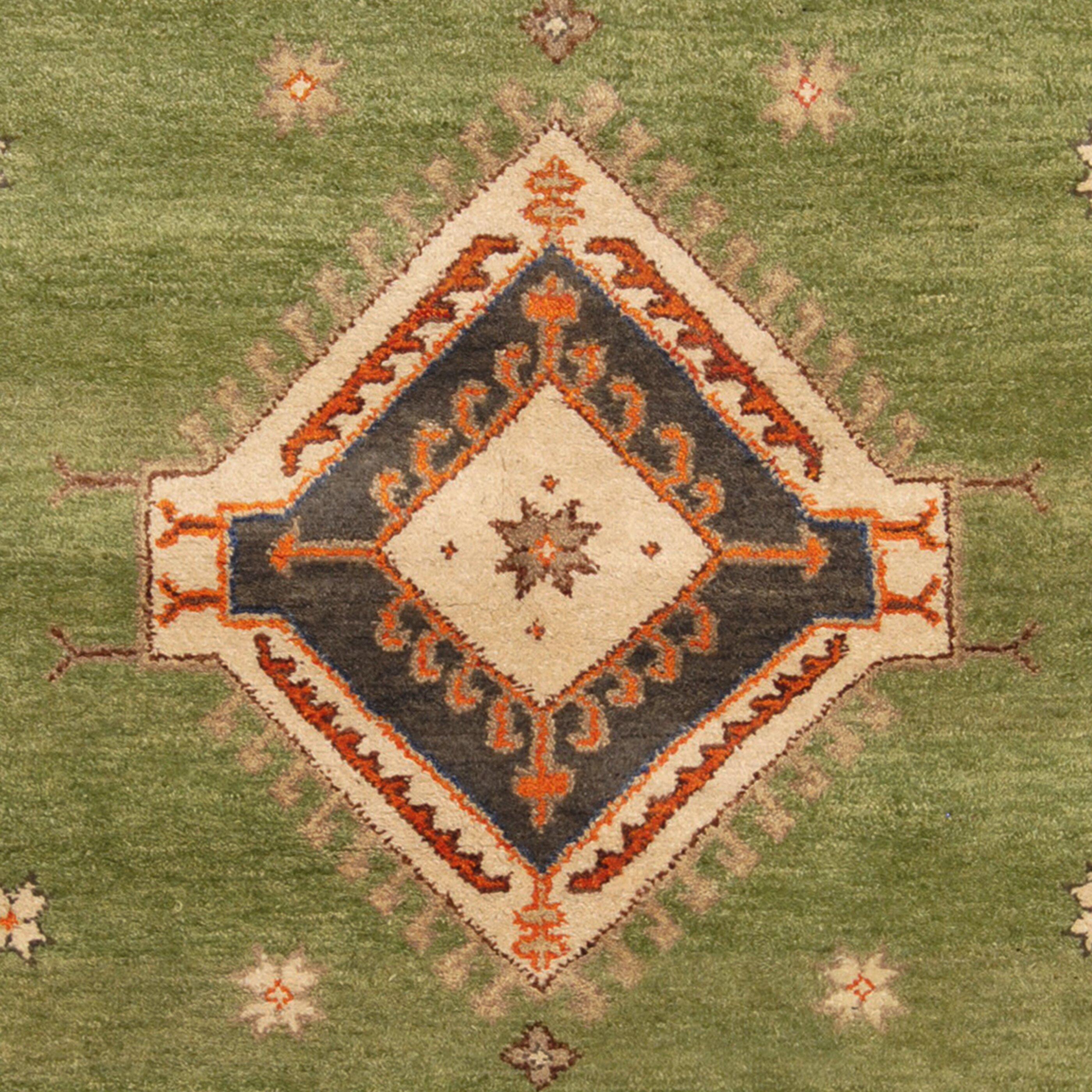 Herat Oriental Kazak Hand Knotted Green Rust Area Rug