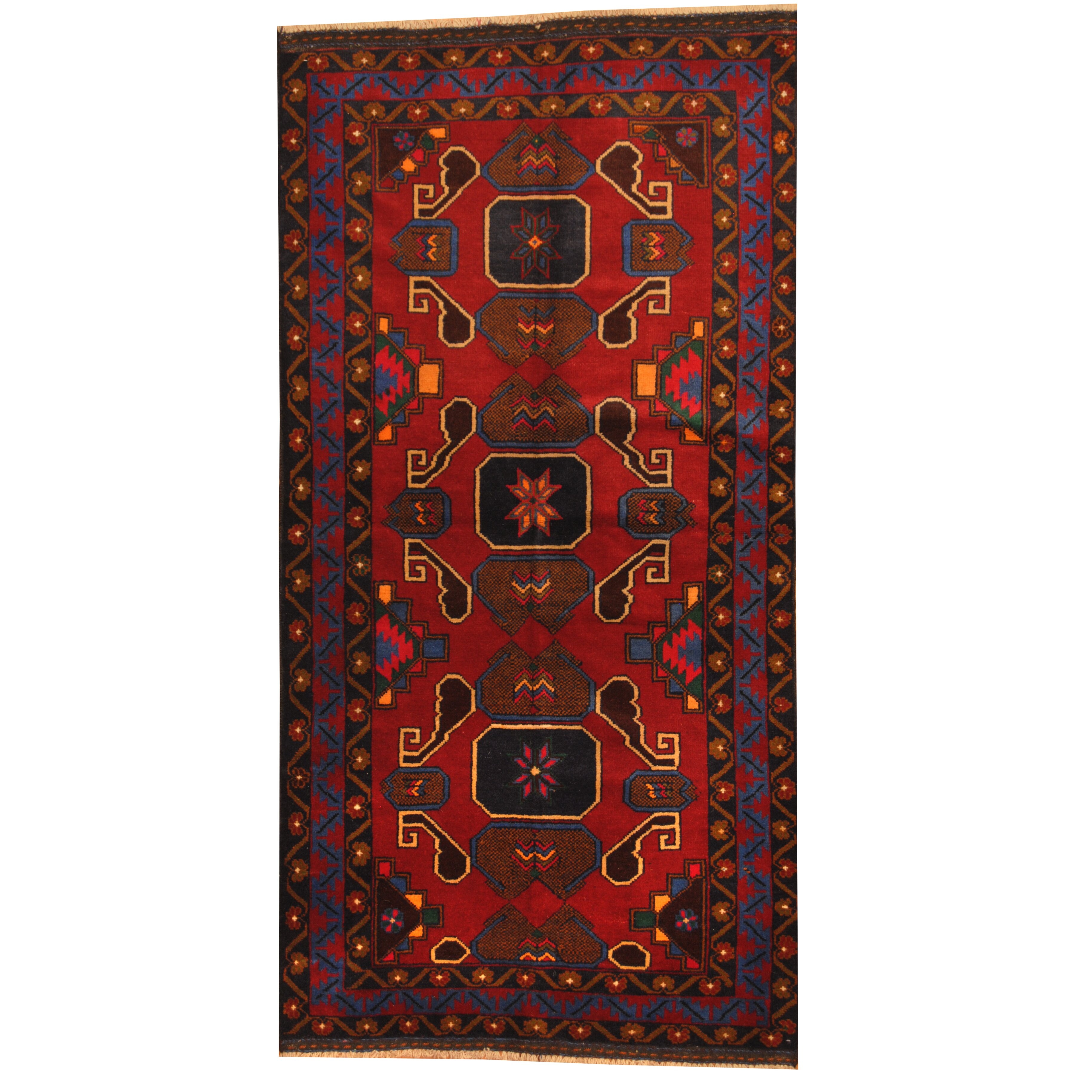 Herat oriental balouchi hand knotted red navy area rug for Red and navy rug