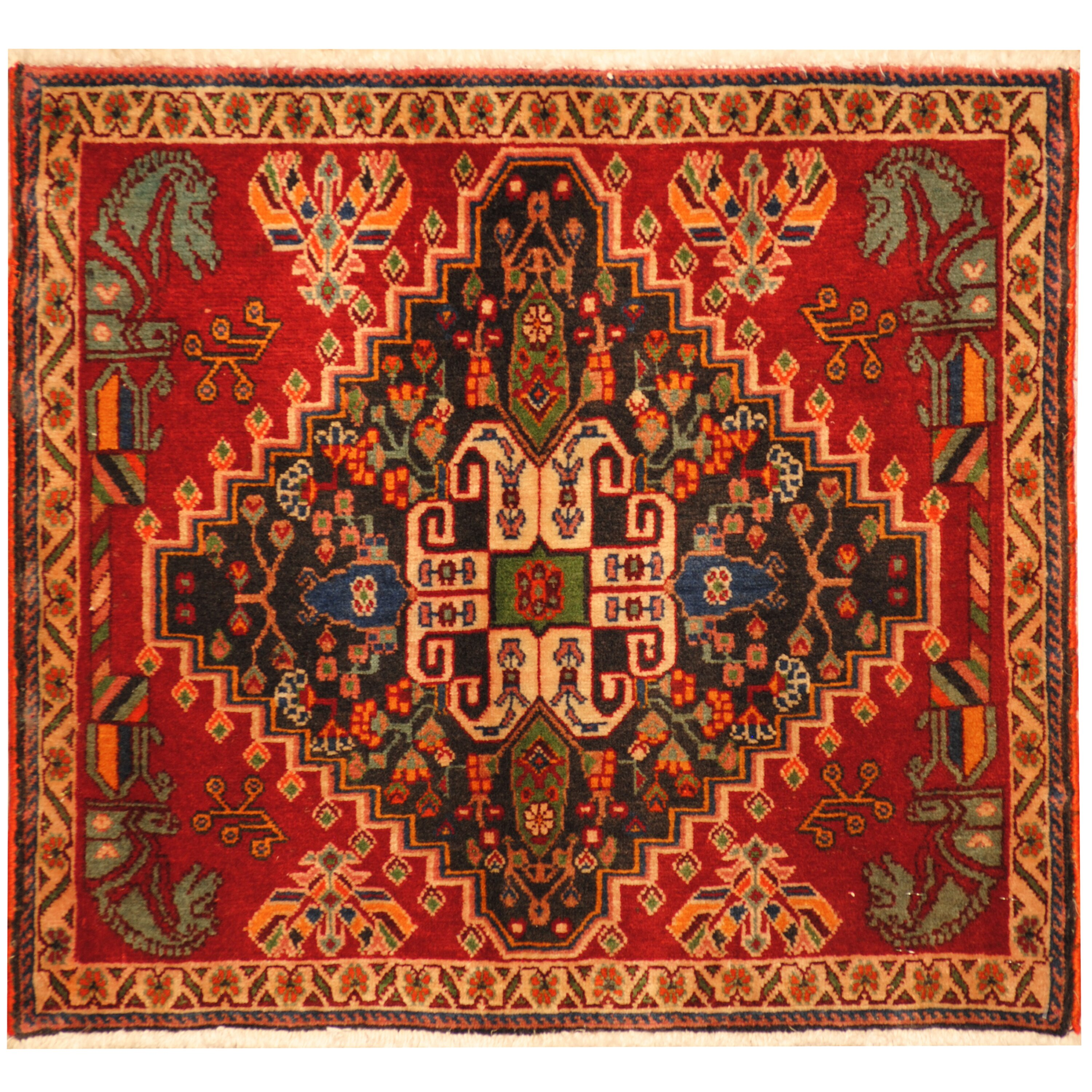 Herat oriental shiraz hand knotted red gold area rug wayfair for Red and gold area rugs
