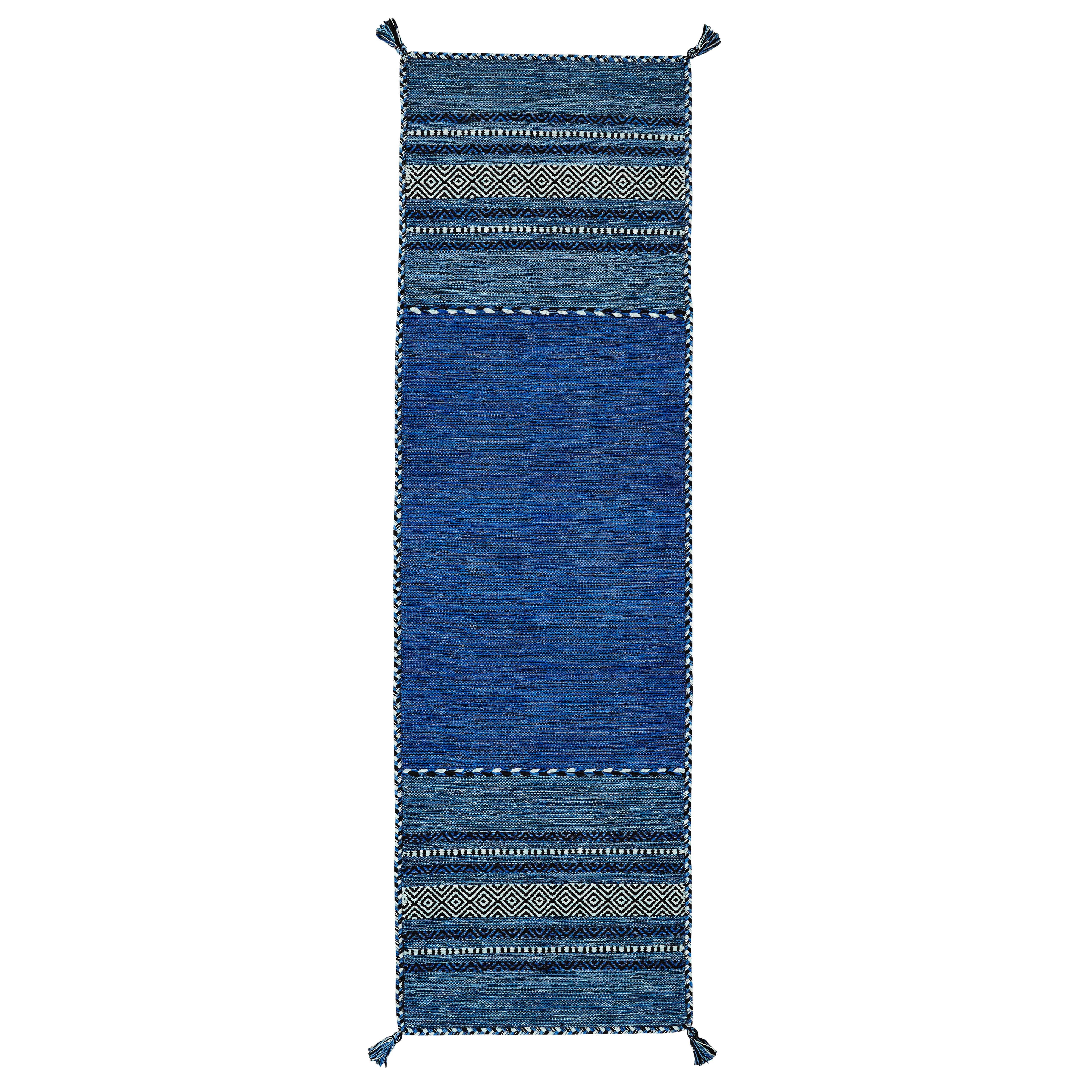 Brook Lane Rugs Handgewebter Teppich Kelim in Blau