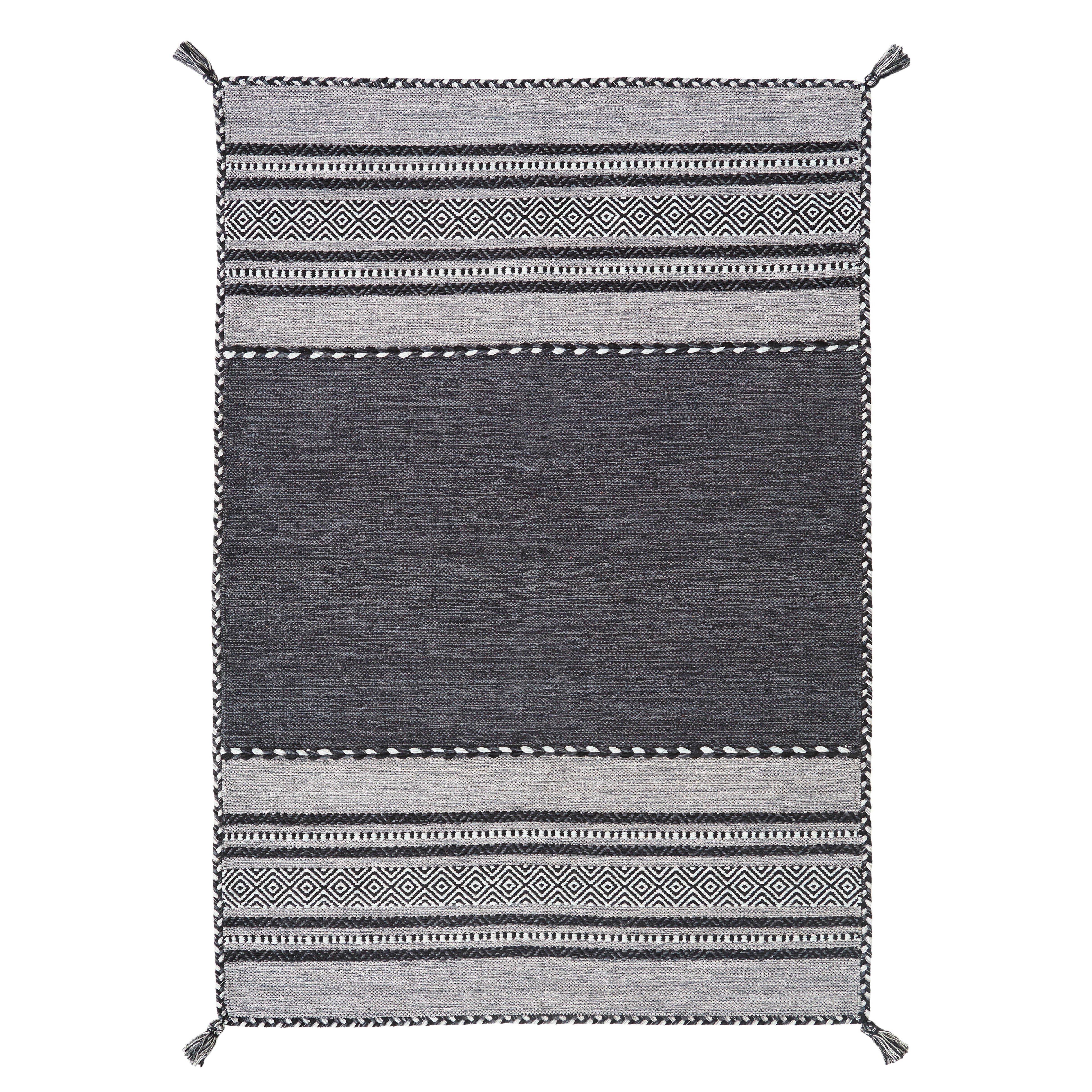 Brook Lane Rugs Handgewebter Teppich Kelim in Anthrazit