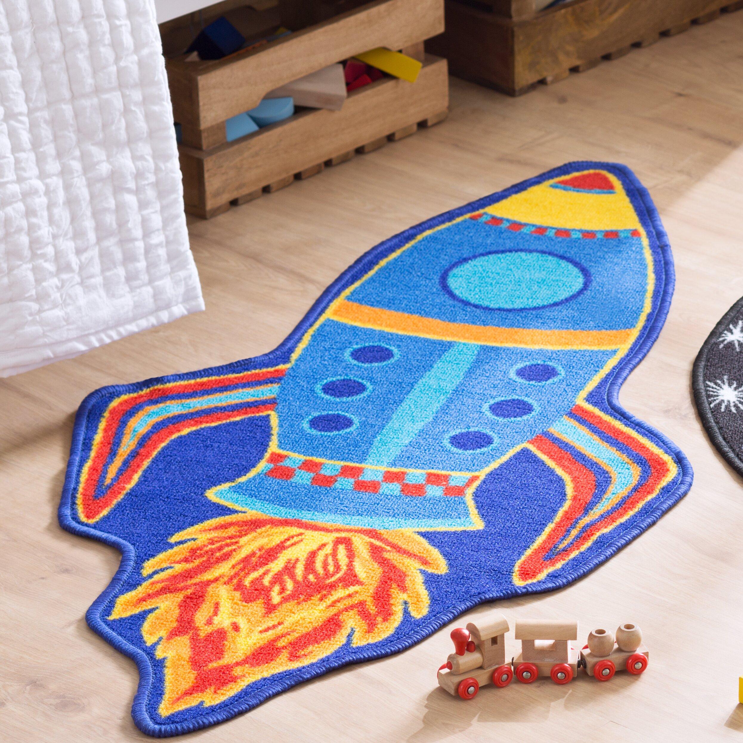 Kids Childrens Football Field 100 X 133cm: Brook Lane Rugs Bambino Rocket Blue Area Rug & Reviews