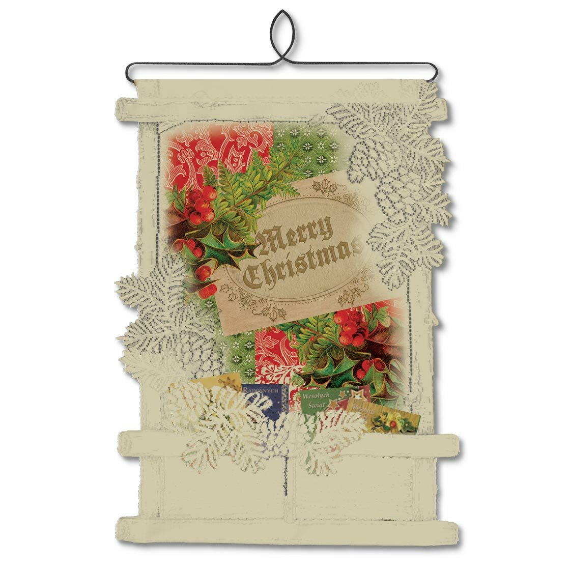 Heritage lace holly christmas card holder wall hanging for Christmas card holder wall hanging