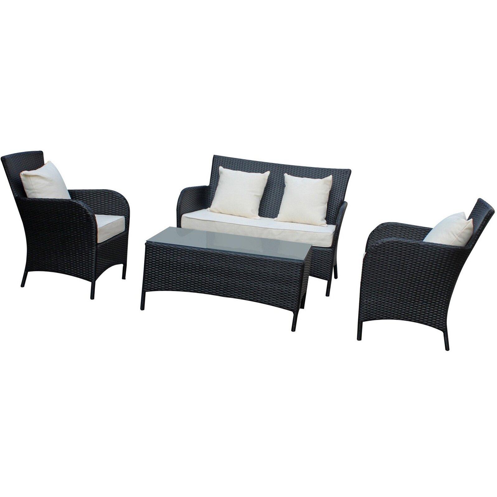 Modway prosper 4 piece outdoor patio sofa set reviews for Monaco 4 piece sectional sofa set