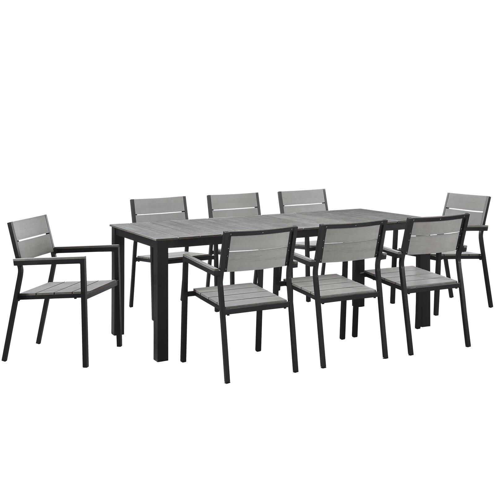 Modway maine 9 piece outdoor patio dining set wayfair for Outdoor furniture 9 piece