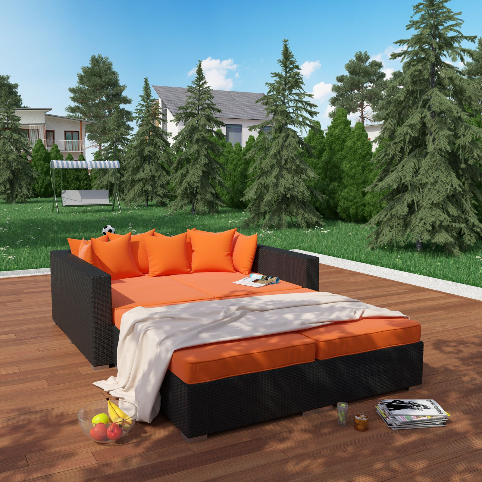 modway fence 4 outdoor patio daybed with cushions