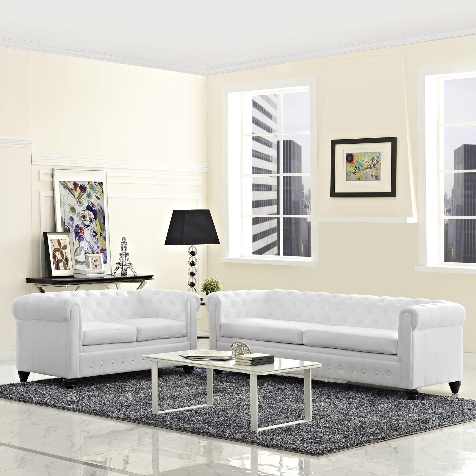 Modway earl 2 piece living room set reviews wayfair for Two piece living room set