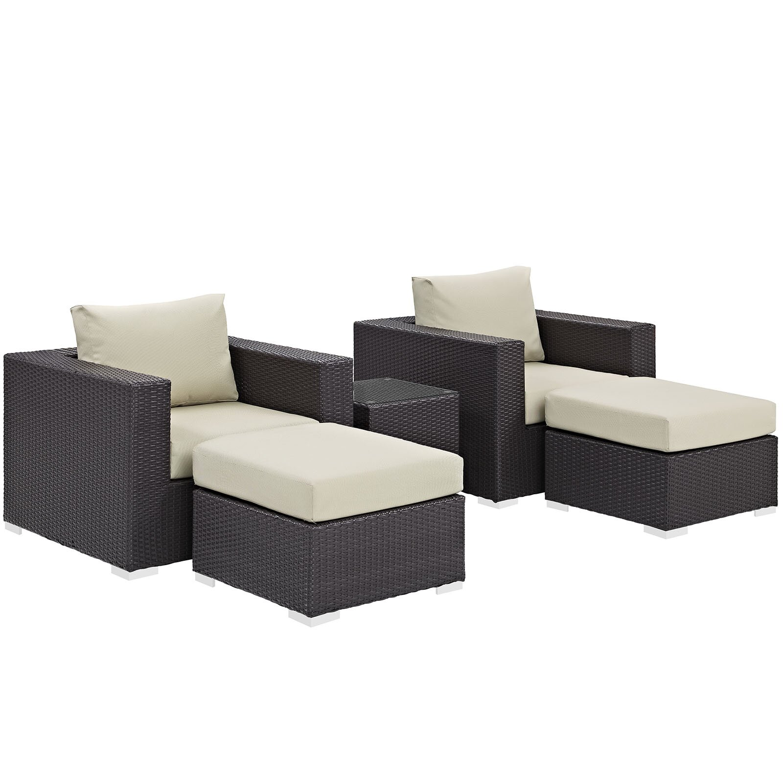 modway convene 5 outdoor patio sectional set with