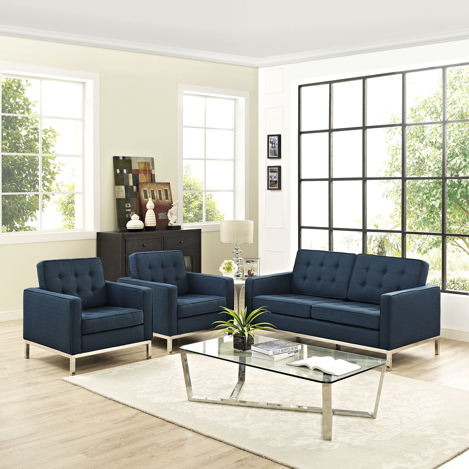 modway loft 3 piece living room set wayfair. Black Bedroom Furniture Sets. Home Design Ideas