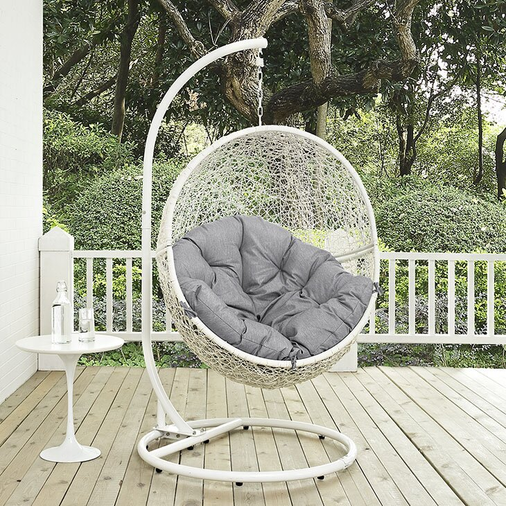 Modway Cloak Outdoor Patio Swing Chair with Cushion