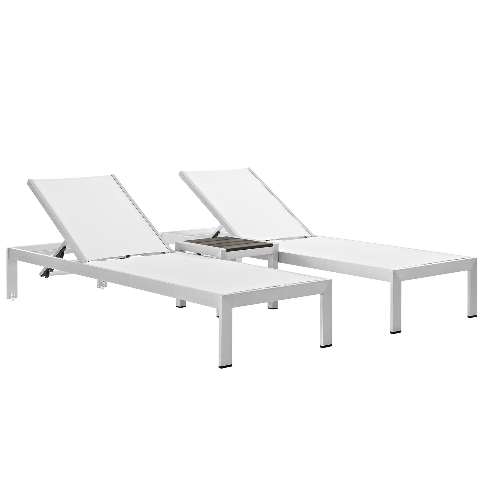 Modway shore outdoor patio 3 piece single chaise and table - Ensemble chaise table ...