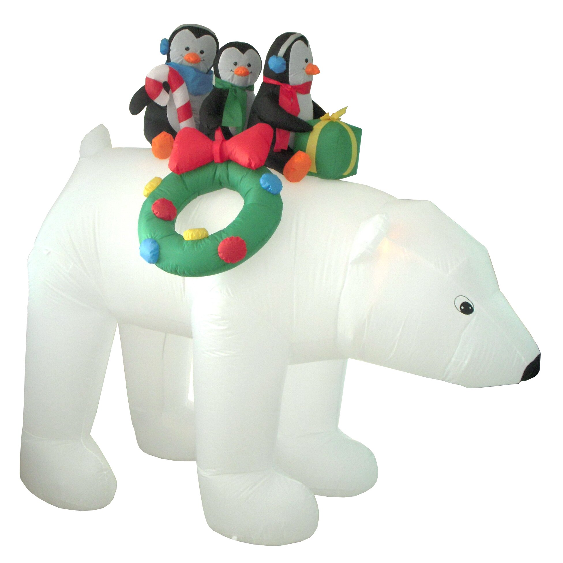 Bzb goods christmas inflatables penguins on polar bear for Animated polar bear christmas decoration