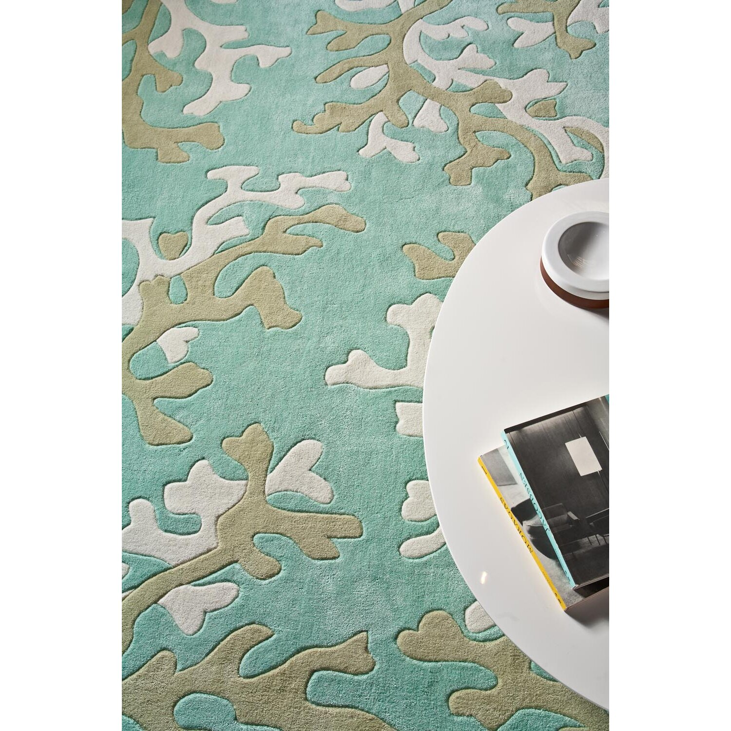 Coral And Turquoise Outdoor Rug: JaipurLiving Fusion Coral Fixation Turquoise Blue & White