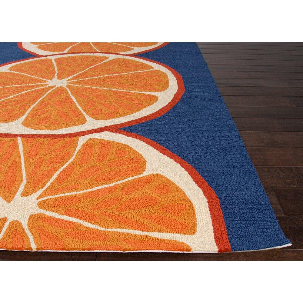 JaipurLiving Grant I O Conversational Orange Blue Indoor