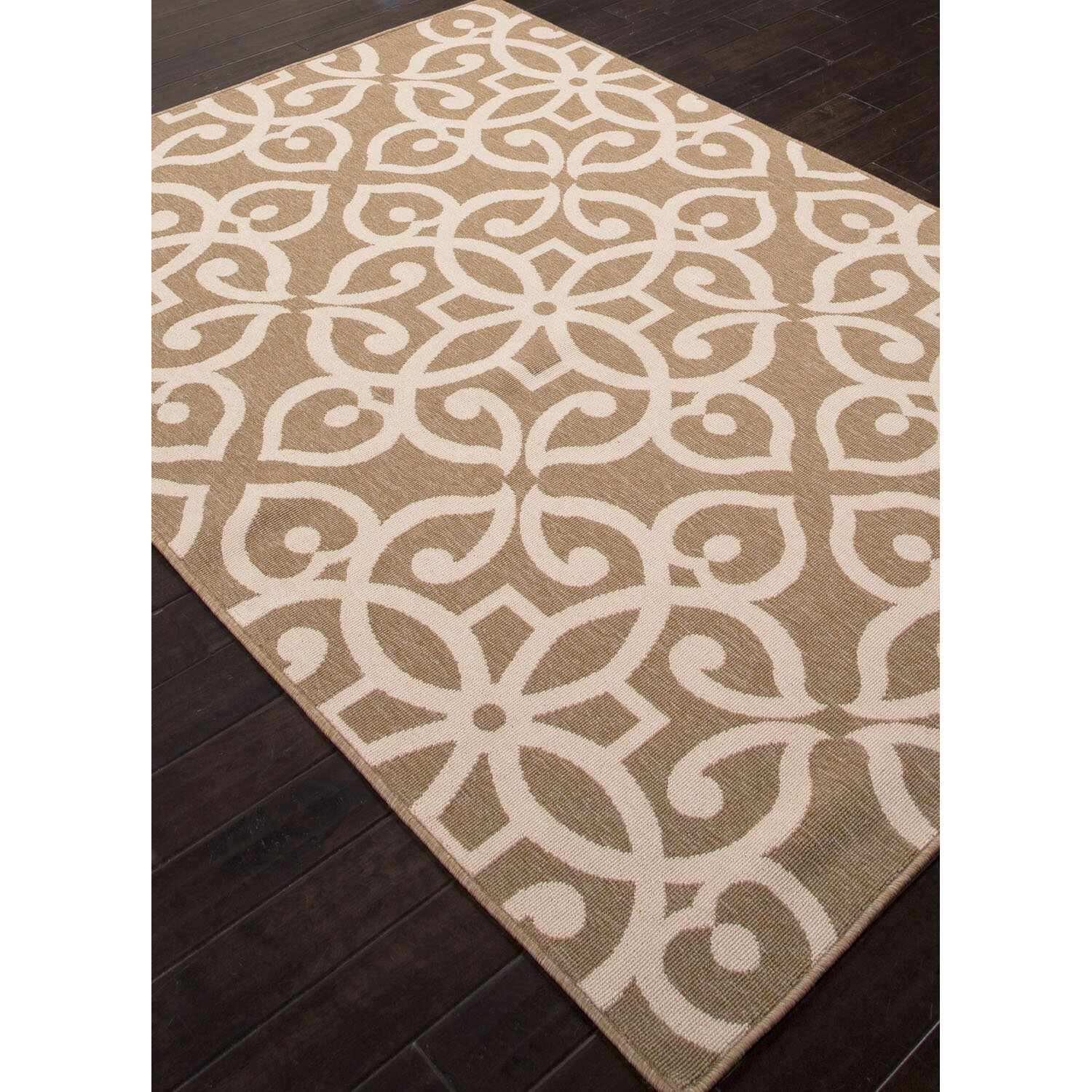 Jaipurliving bloom brown taupe indoor outdoor area rug for Living room rugs 9x12