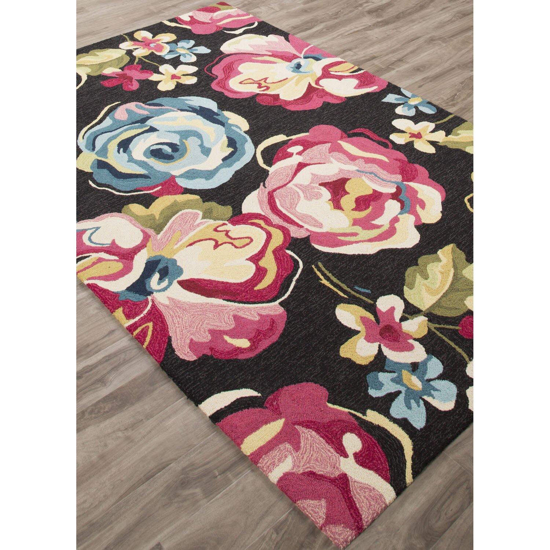 jaipurliving flora hand tufted black pink area rug wayfair. Black Bedroom Furniture Sets. Home Design Ideas