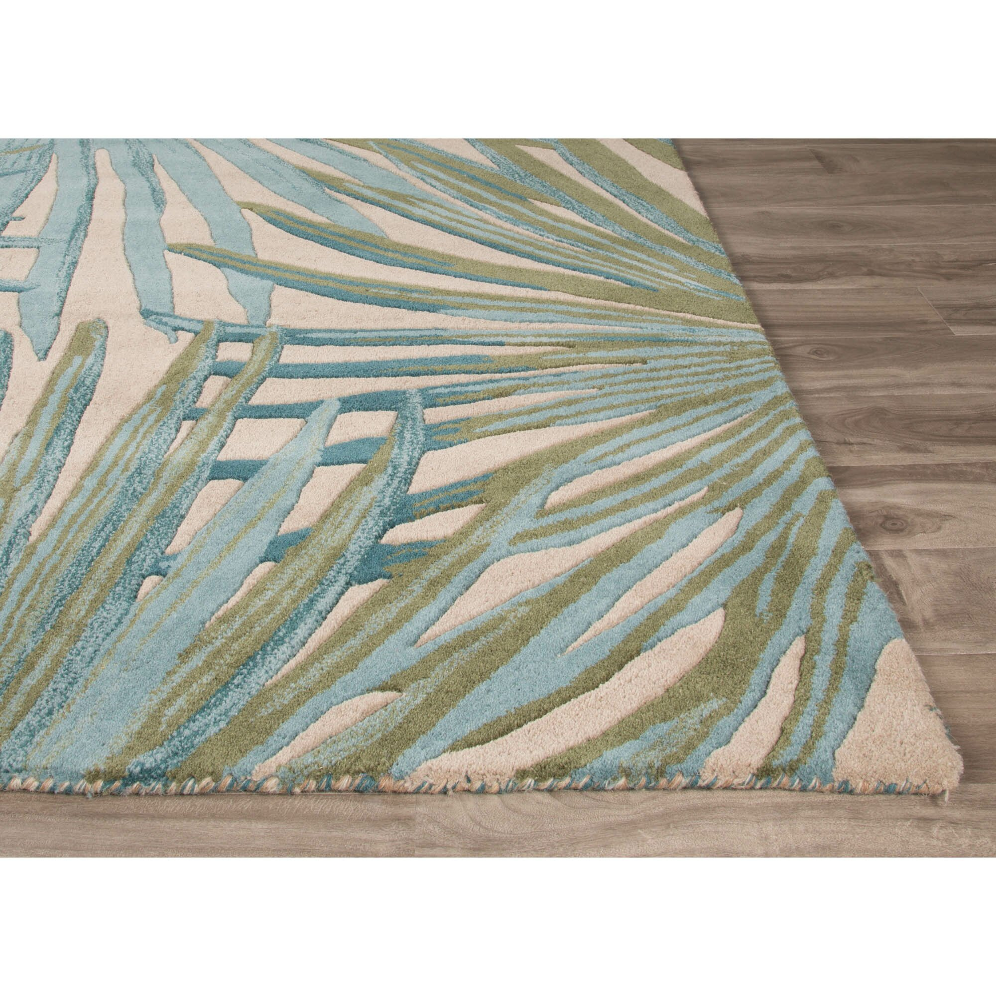 Jaipurliving Coastal Seaside Hand Tufted Blue Green Area