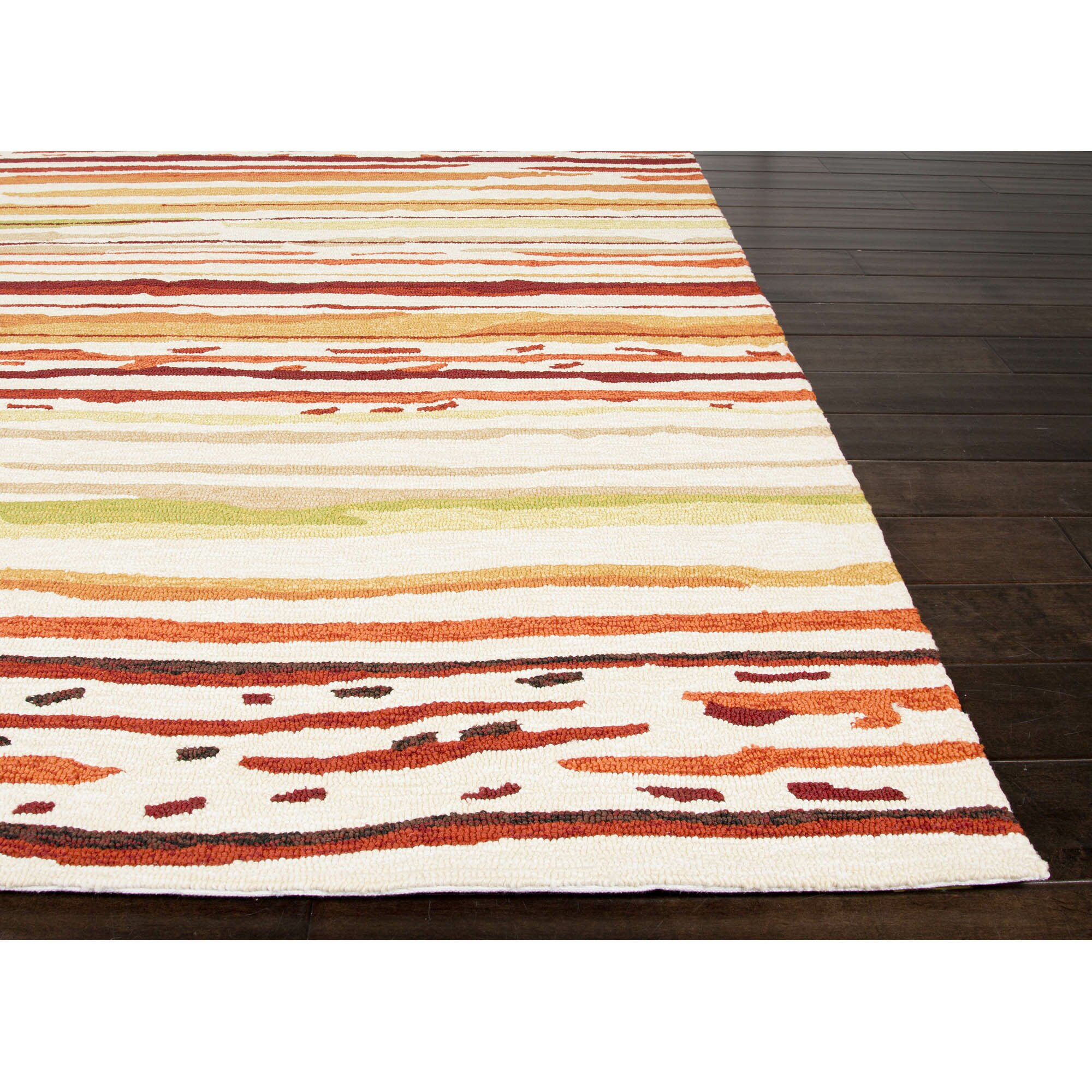 Jaipurliving colours red orange striped indoor outdoor for Red and white striped area rug
