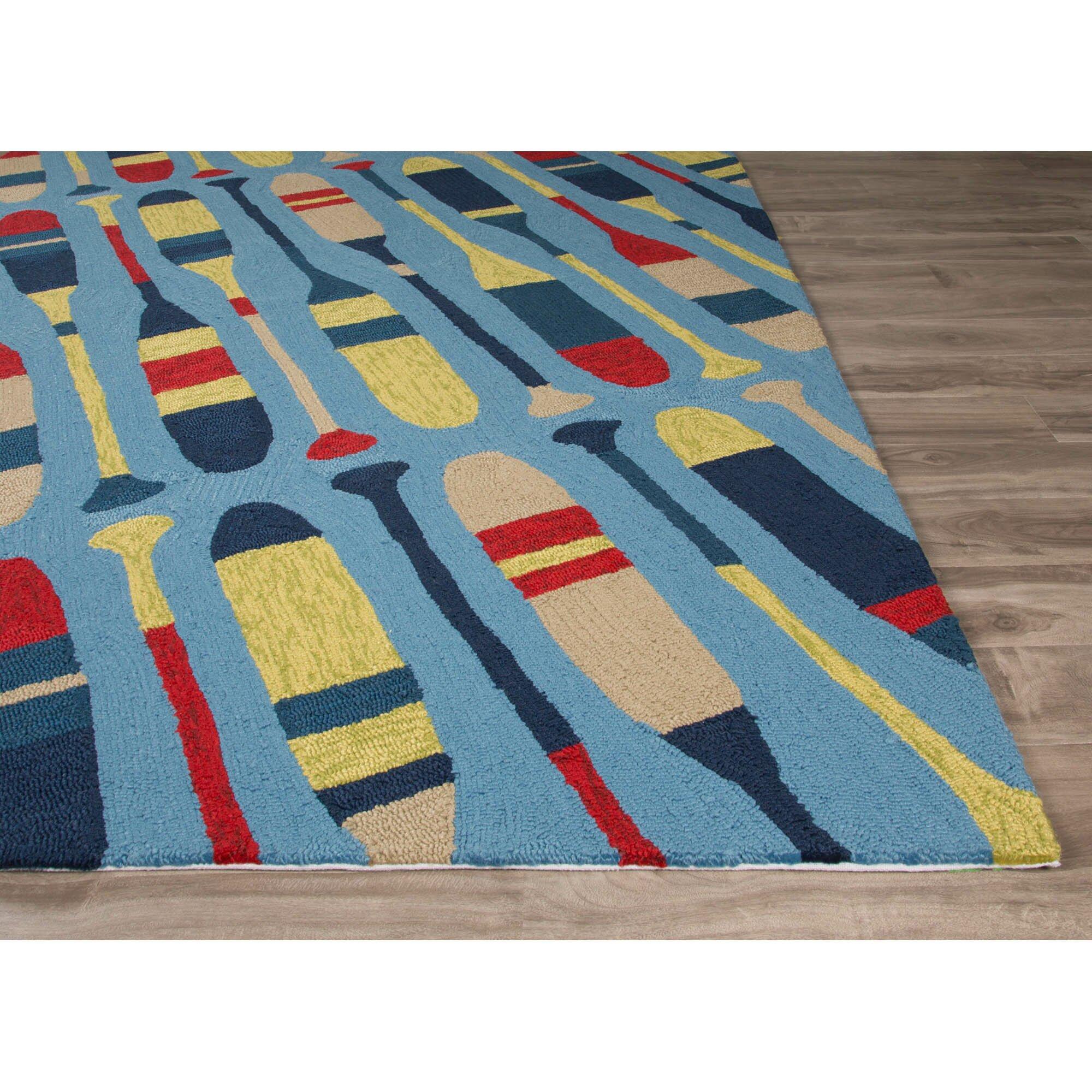 Jaipurliving design campus blue yellow indoor outdoor area for Blue indoor outdoor rug