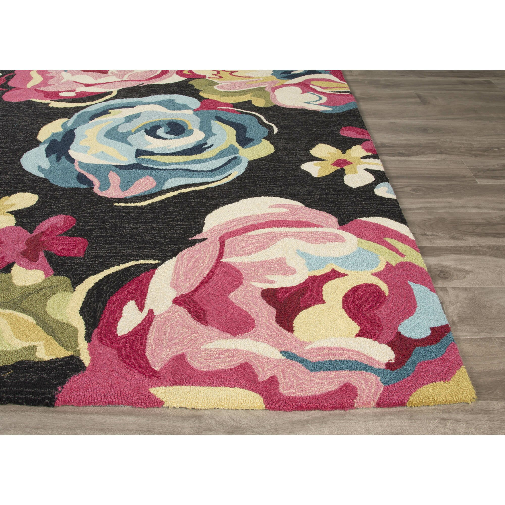 Jaipurliving Flora Hand Tufted Black Pink Area Rug Wayfair