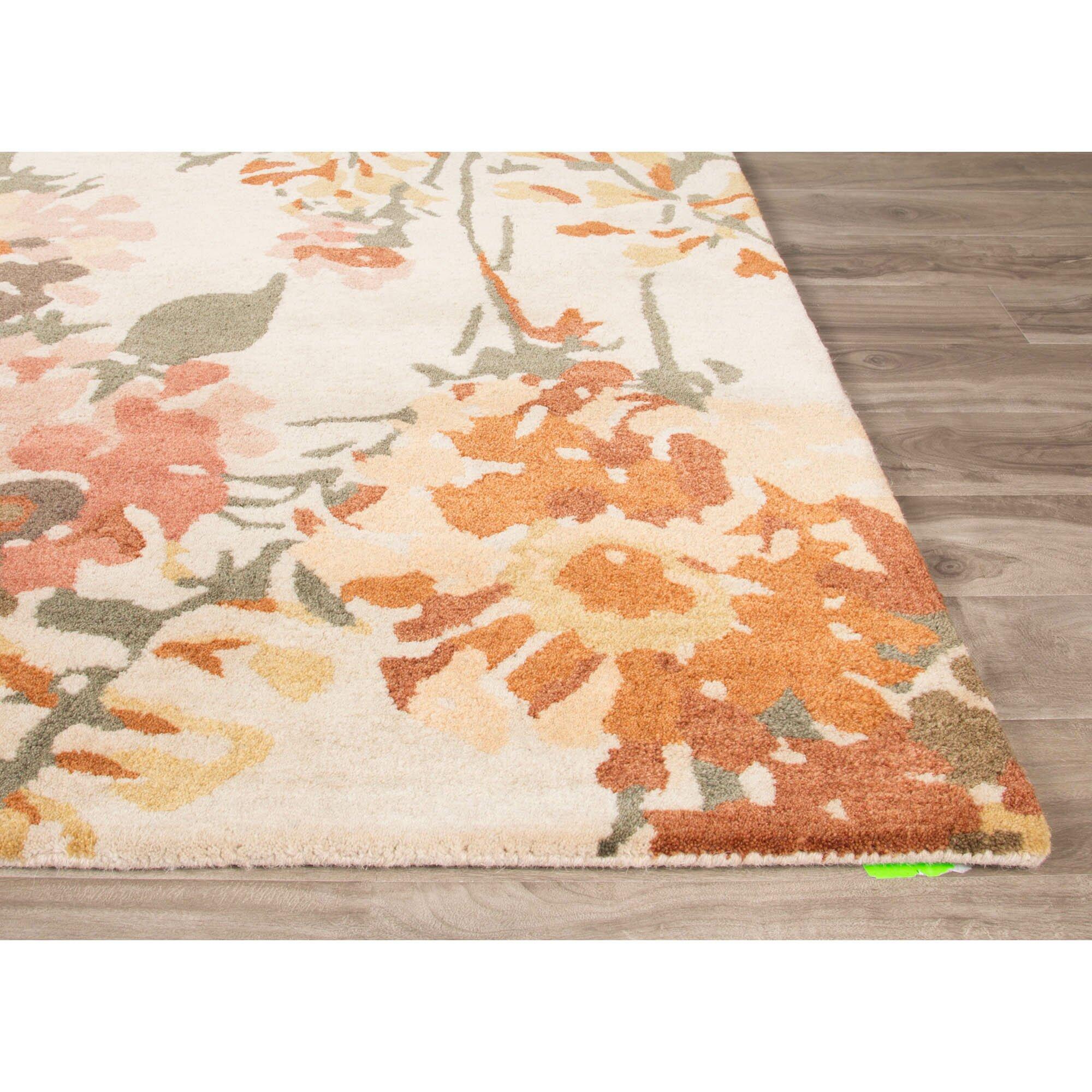 Area Rug 8x10 Orange: JaipurLiving En Casa Hand-Tufted Ivory/Orange Area Rug