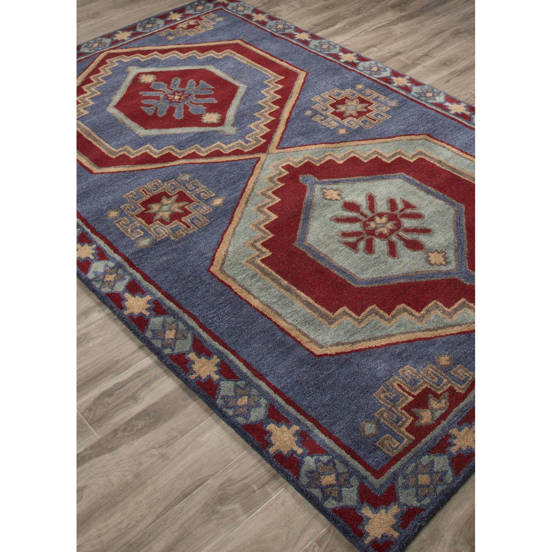 jaipurliving preston hand tufted blue red area rug wayfair. Black Bedroom Furniture Sets. Home Design Ideas