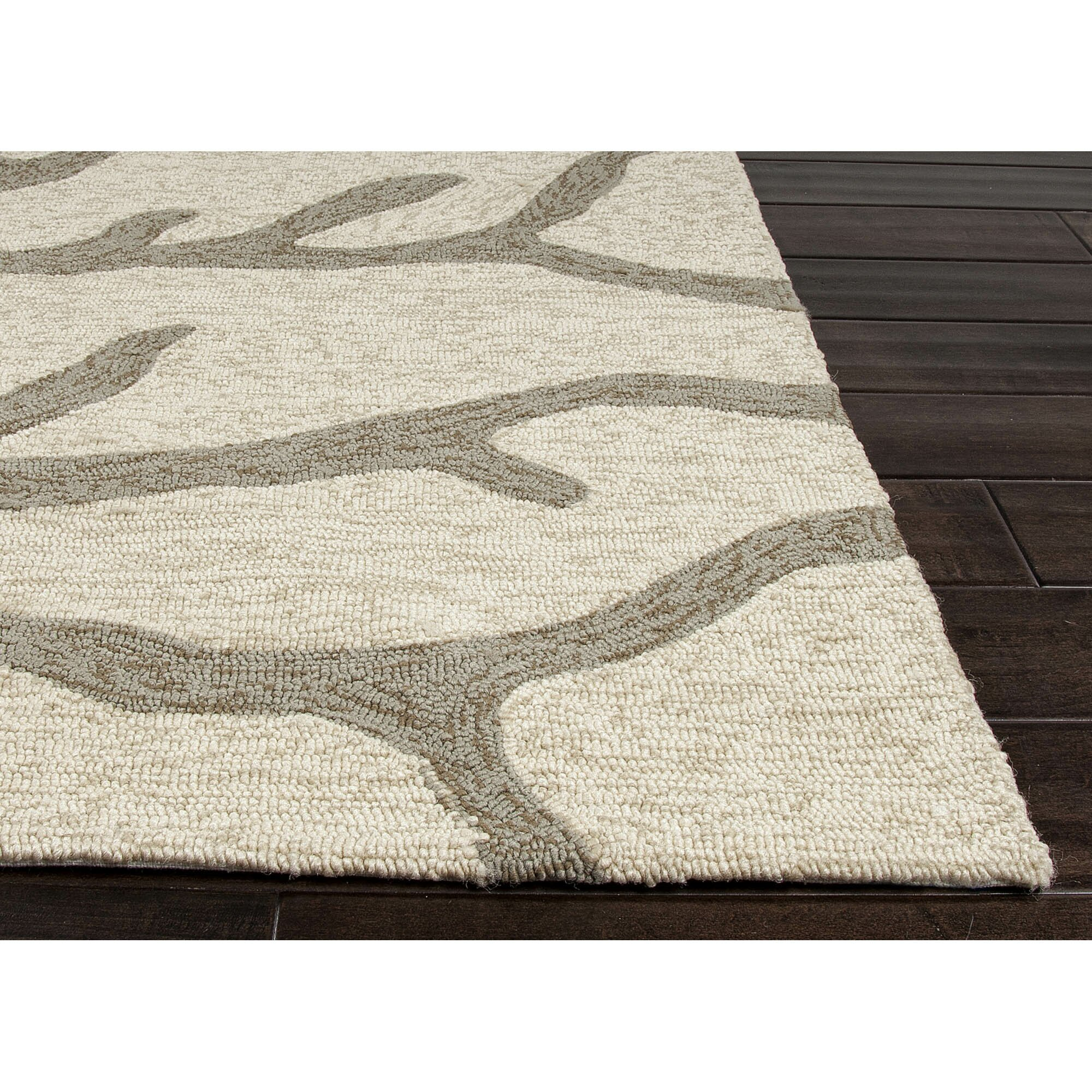 Jaipurliving coastal lagoon ivory grey indoor outdoor area for Indoor out door rugs