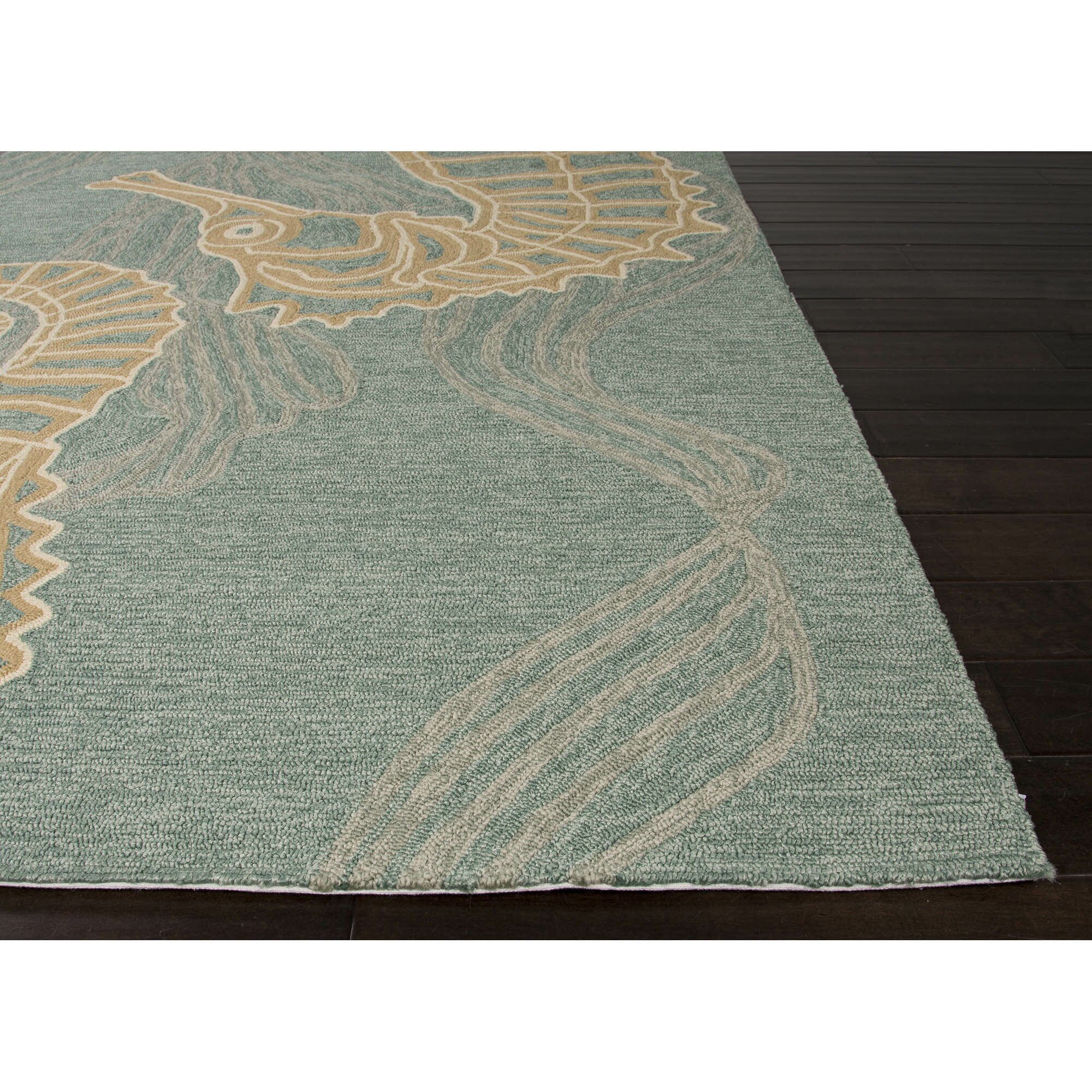 Jaipurliving coastal lagoon blue tan indoor outdoor area for Blue indoor outdoor rug