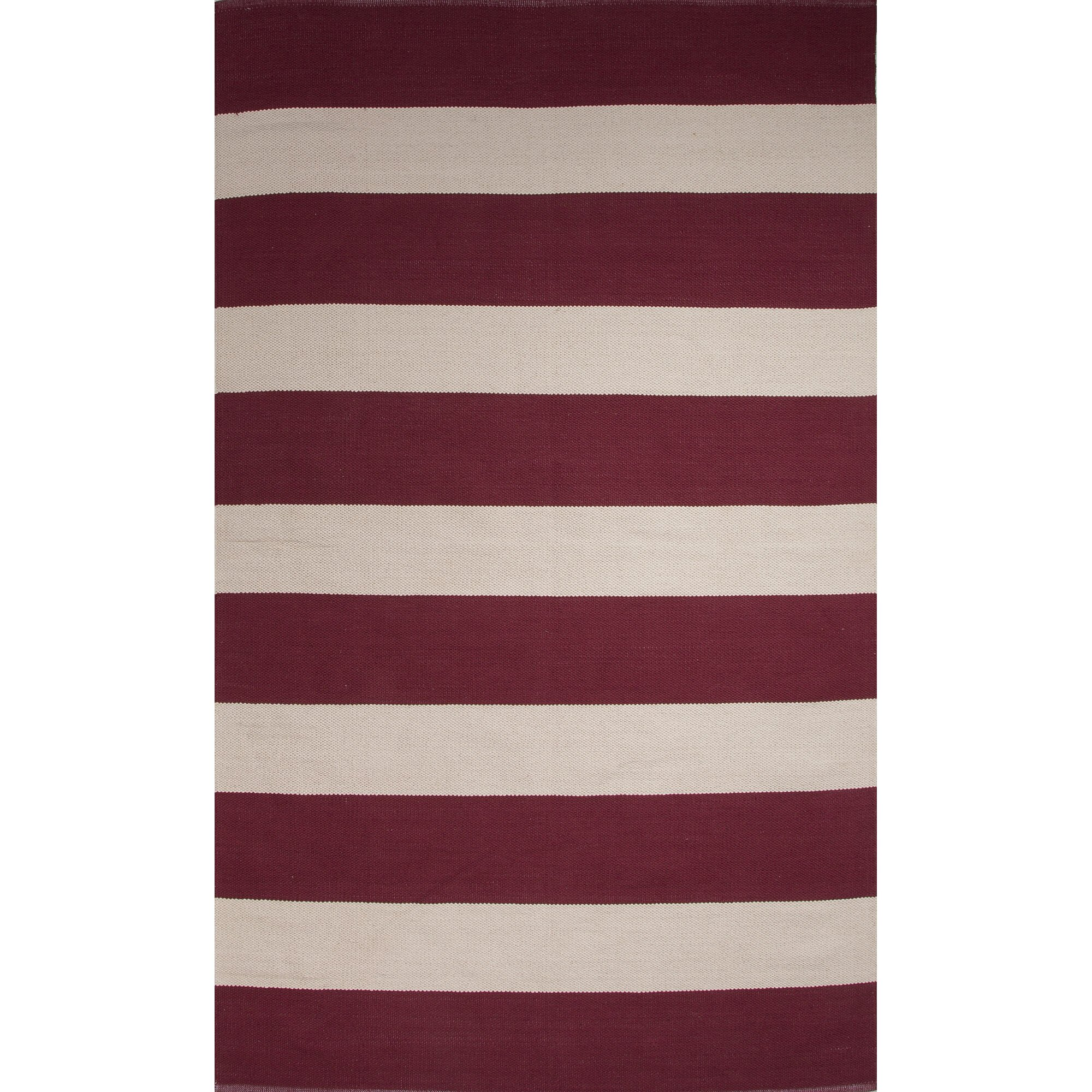 Jaipurliving Sonoma Cotton Flat Weave Red White Area Rug