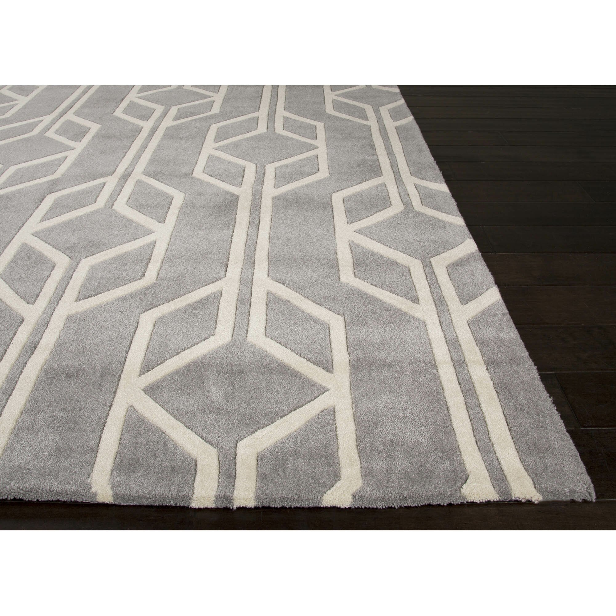 Jaipurliving Fusion Polyester Hand Tufted Gray Area Rug