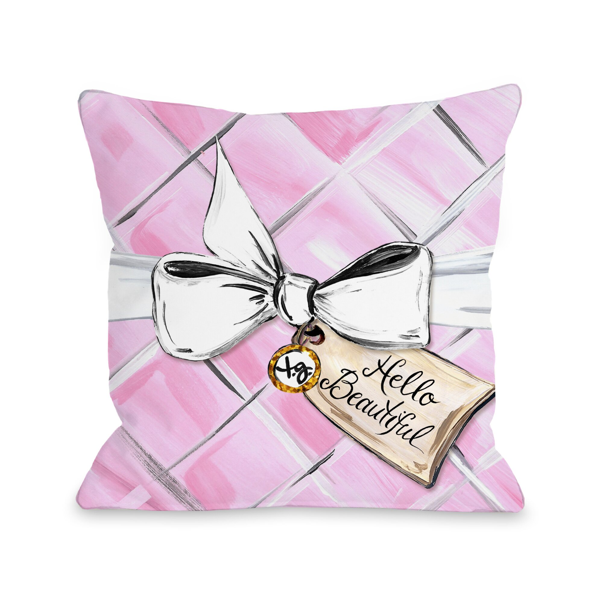 One Bella Casa Hello Beautiful Quilted Bow Throw Pillow & Reviews Wayfair